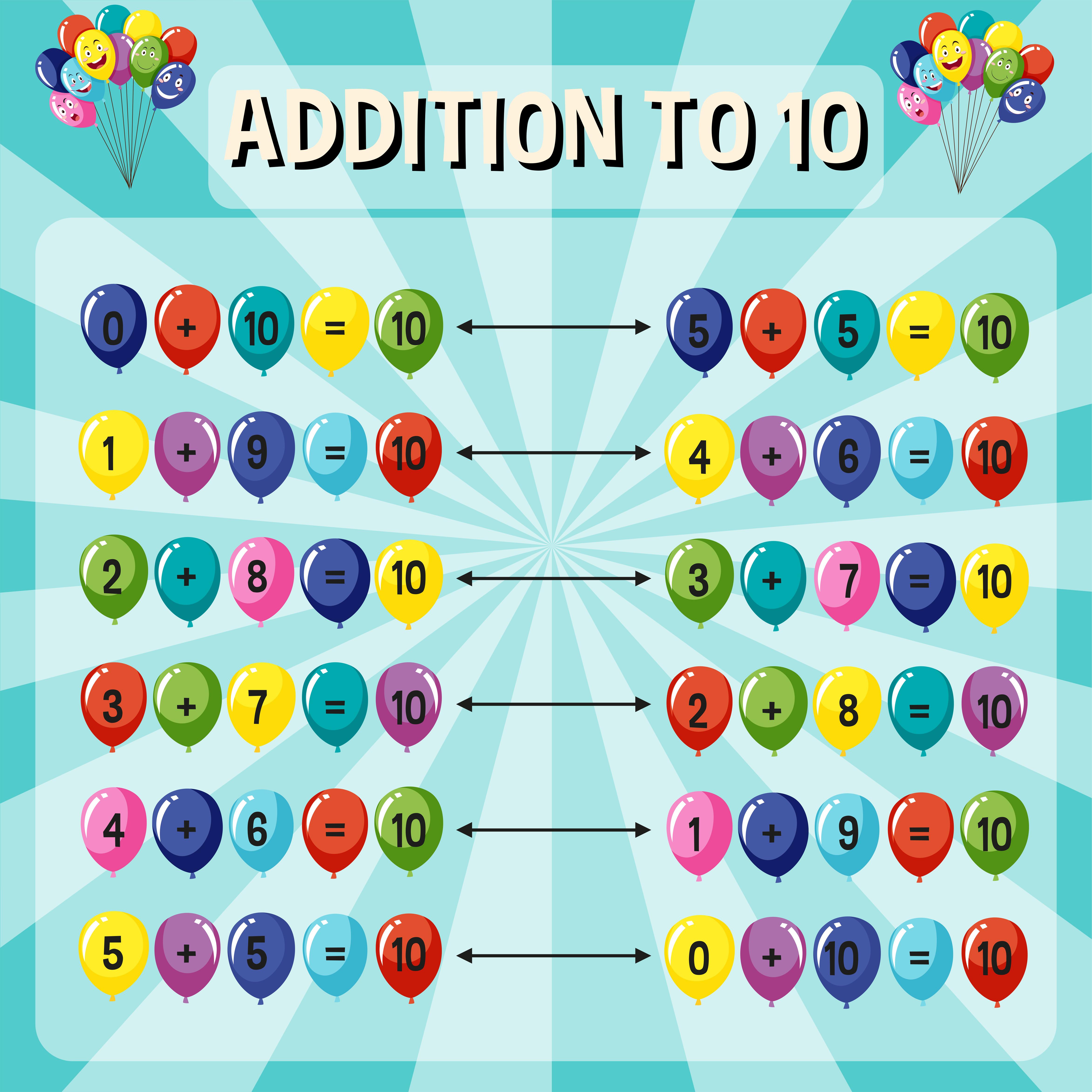 Addition To Ten Worksheet On Blue Background