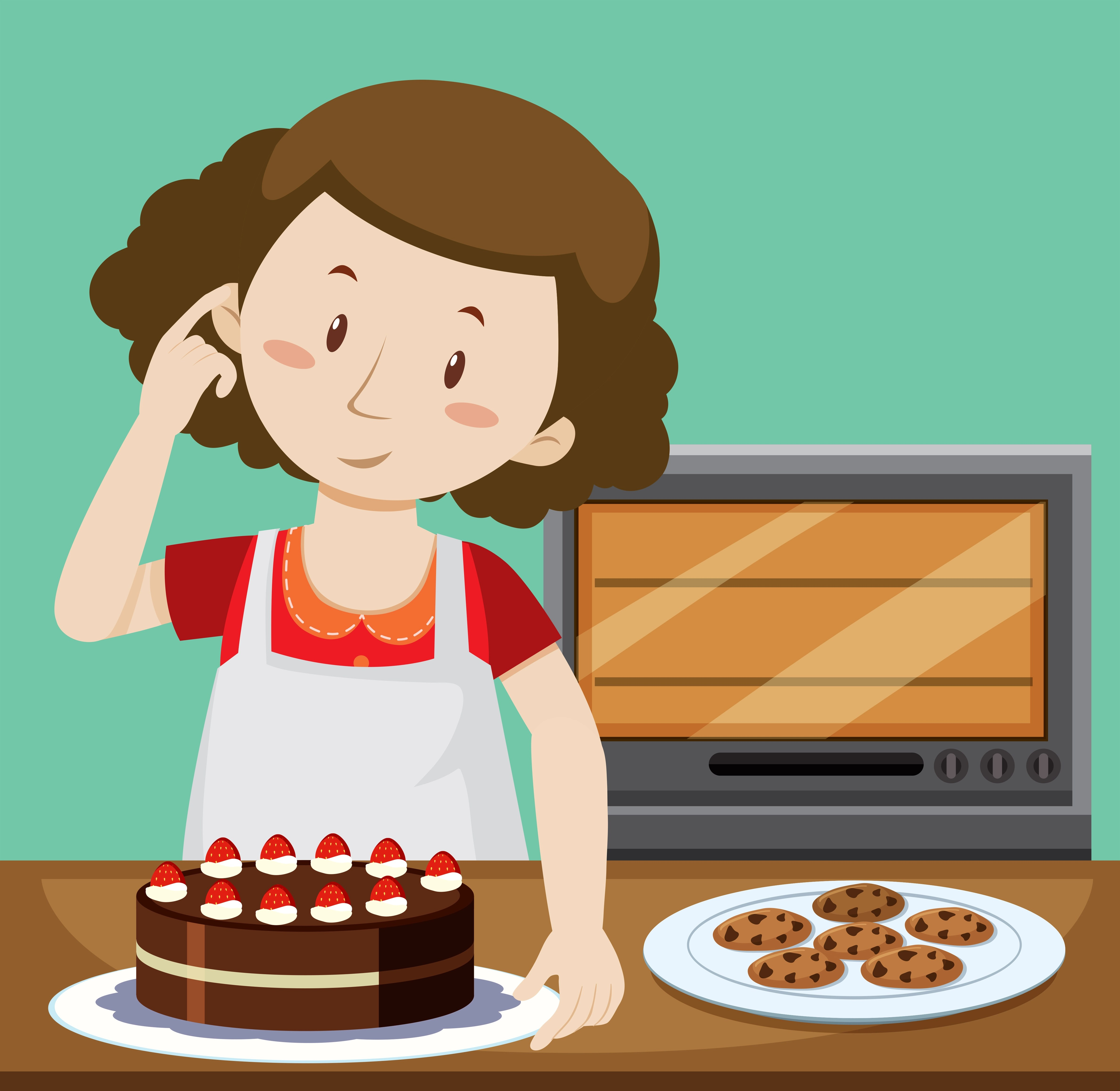 Woman Baking Cake And Cookies Download Free Vectors