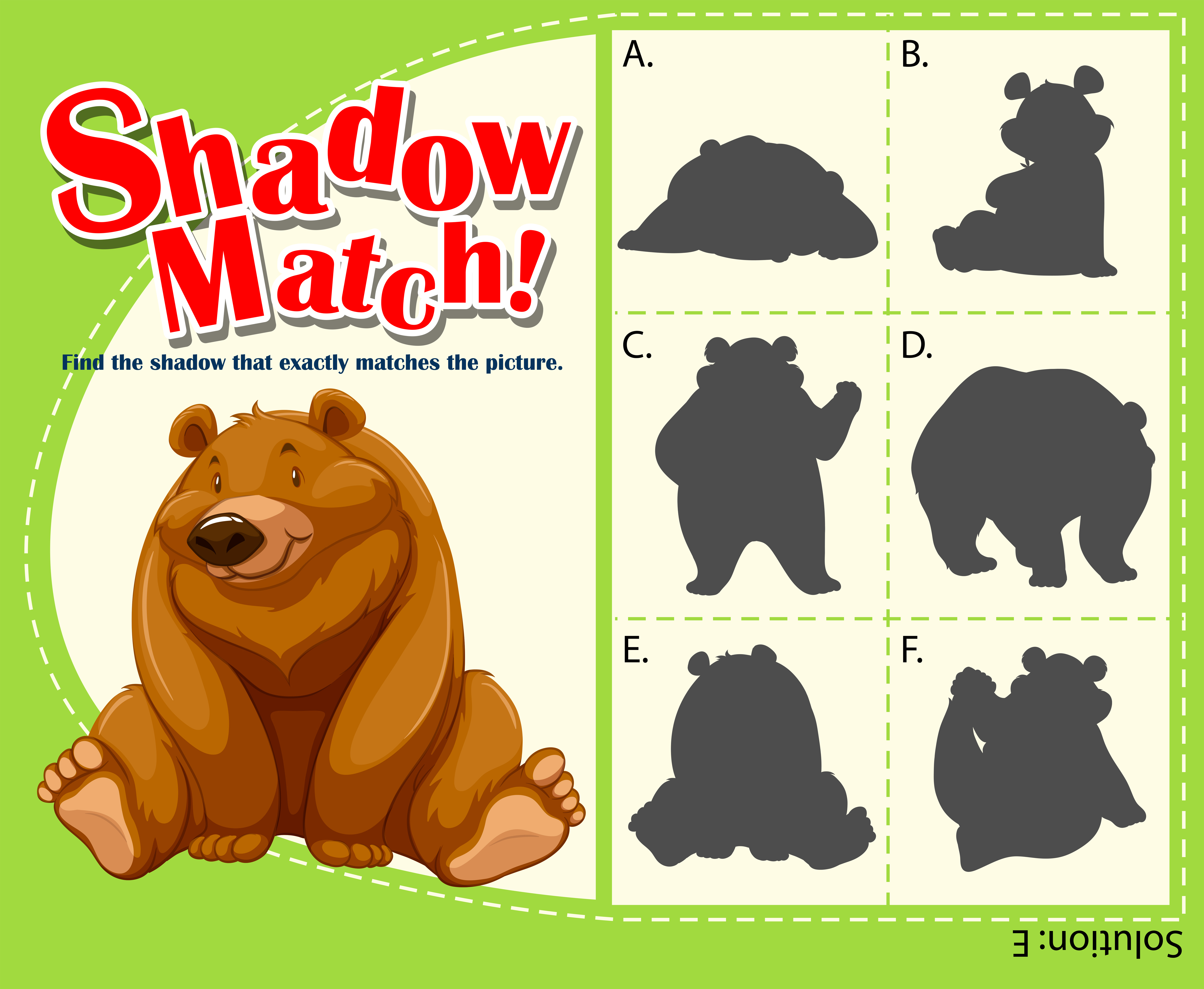 Game Template For Shadow Matching Bear