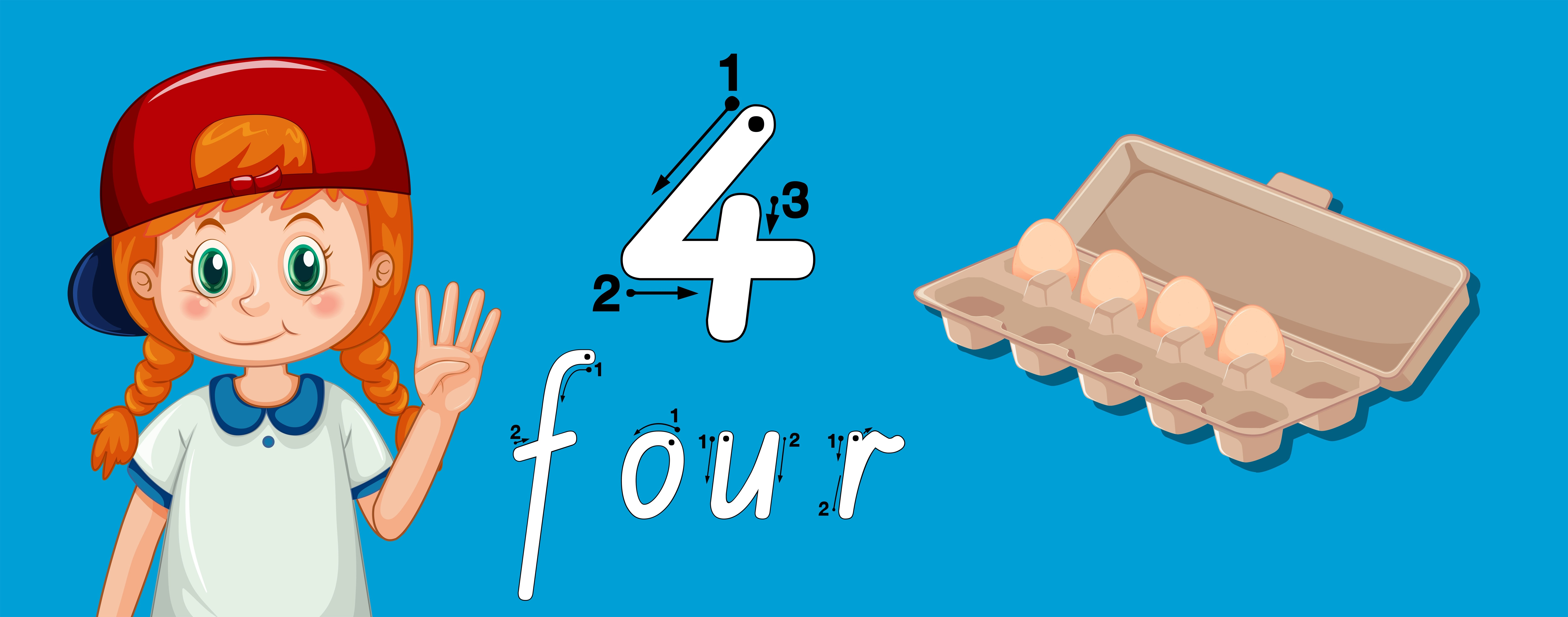 Number Four Writing Tracing