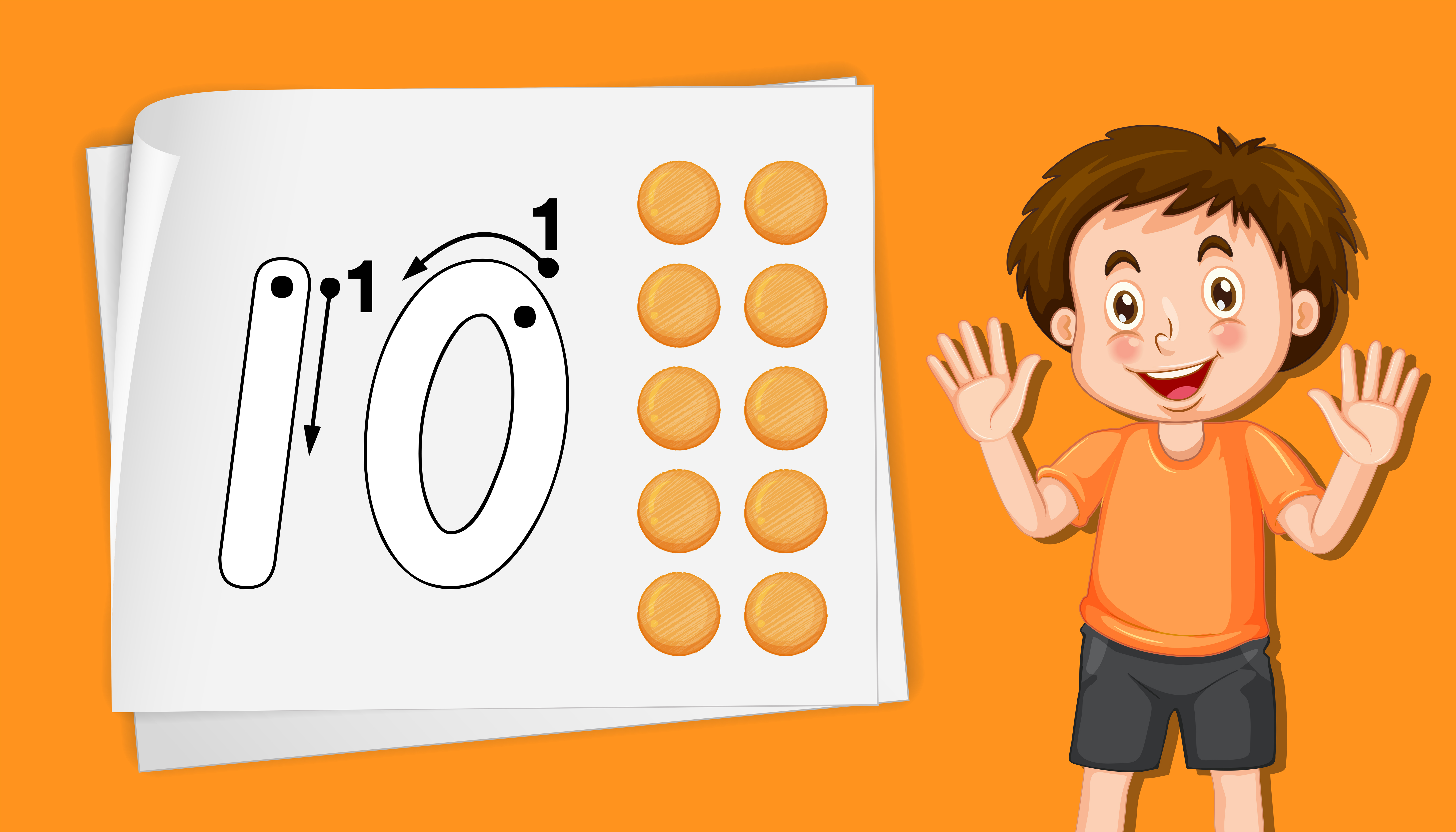 Boy With Number Ten Tracing Worksheets