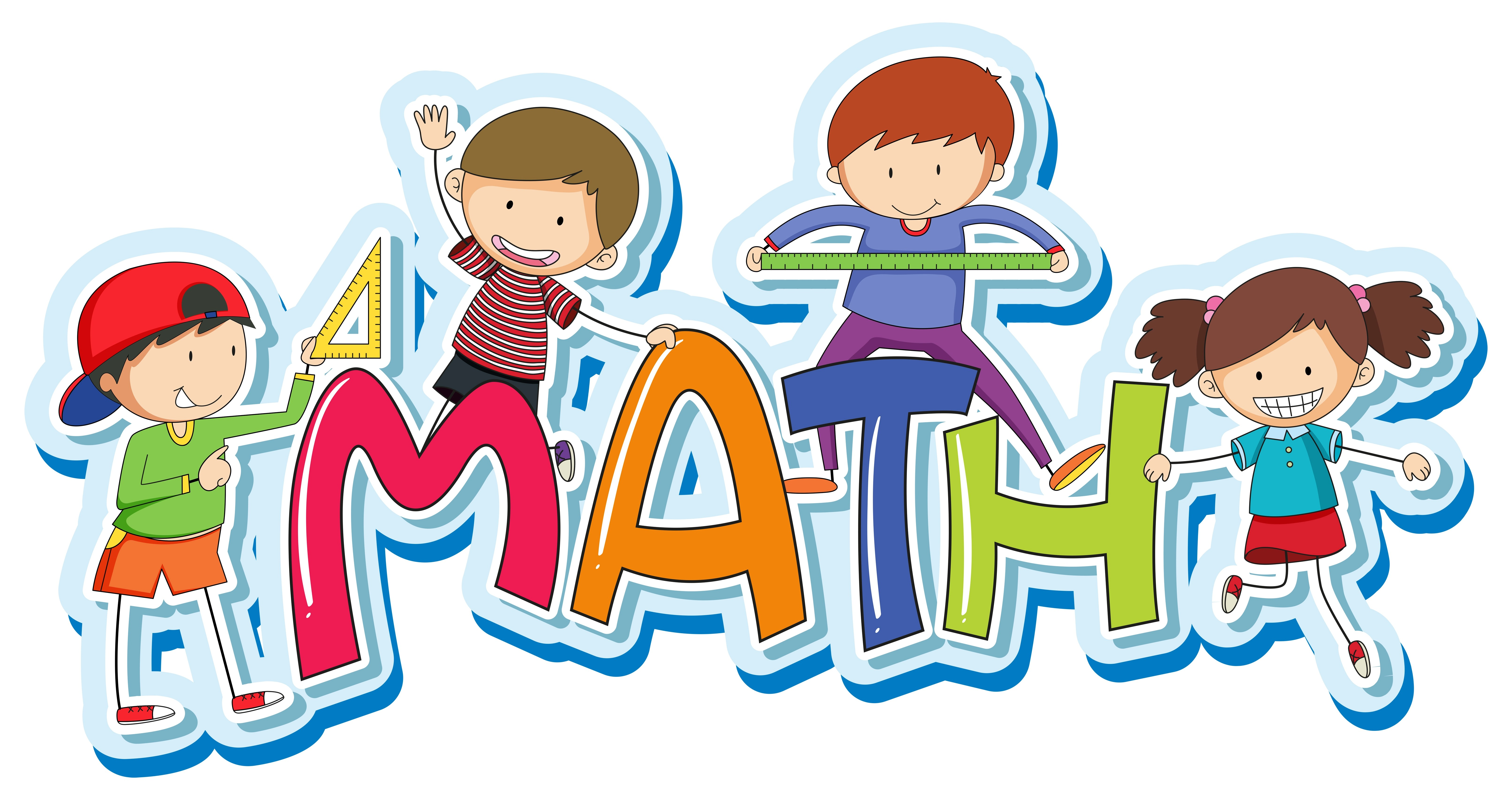 Font Design For Word Math With Happy Kids
