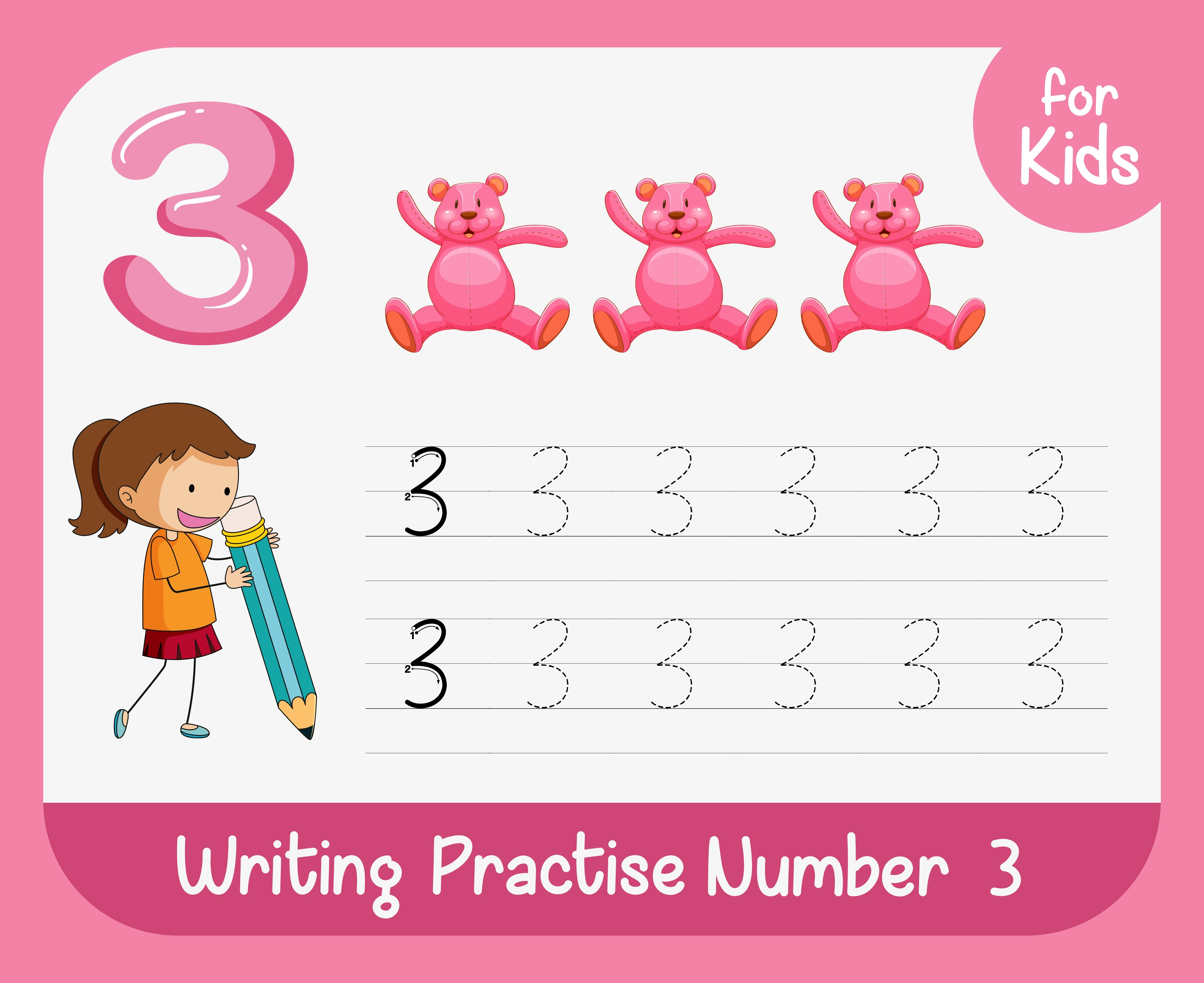 Number Three Tracing Alphabet Worksheets