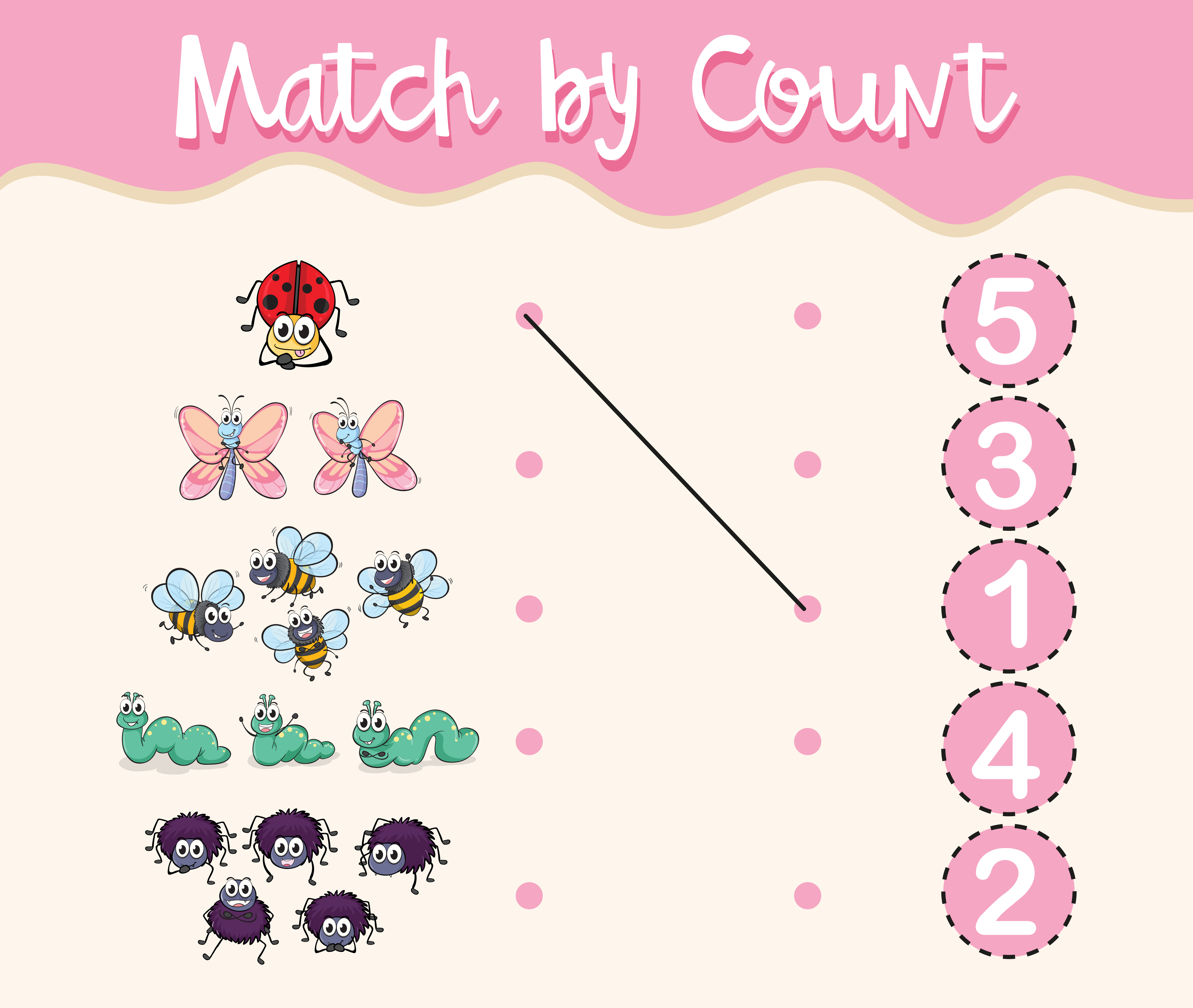 Match By Count With Different Types Of Insects