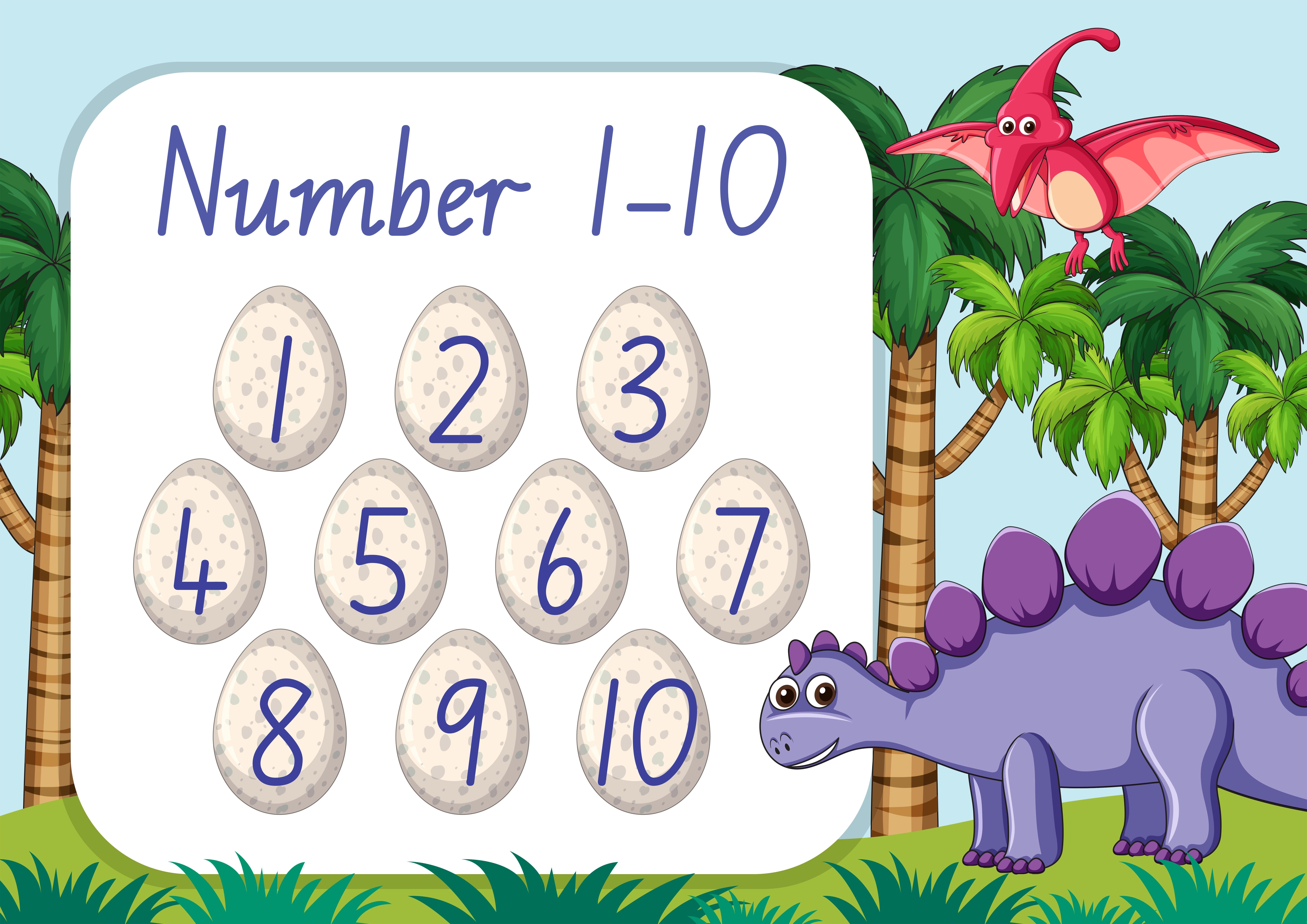 Count Number One To Ten Dinosaur Theme