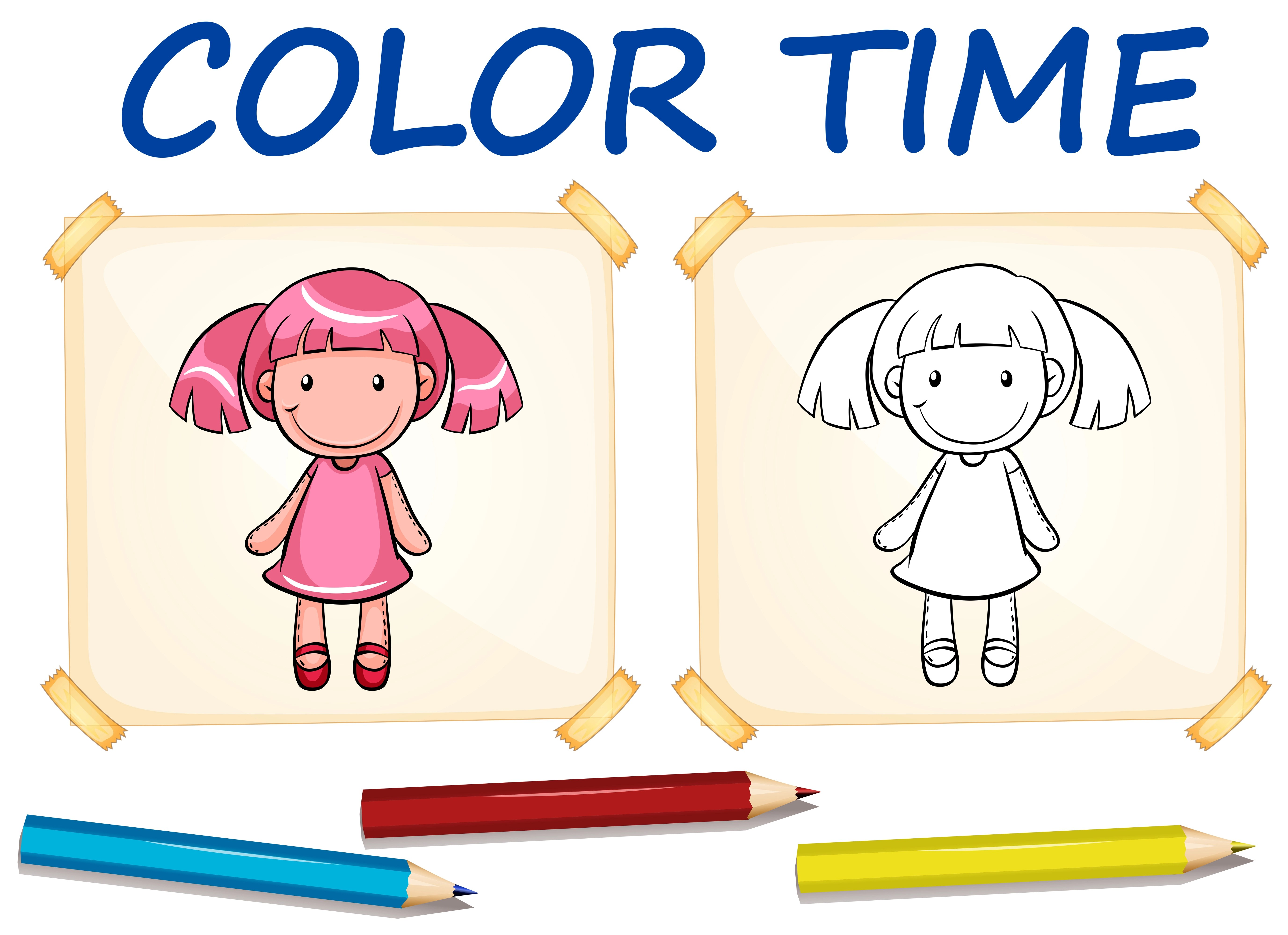 Coloring Template With Cute Doll