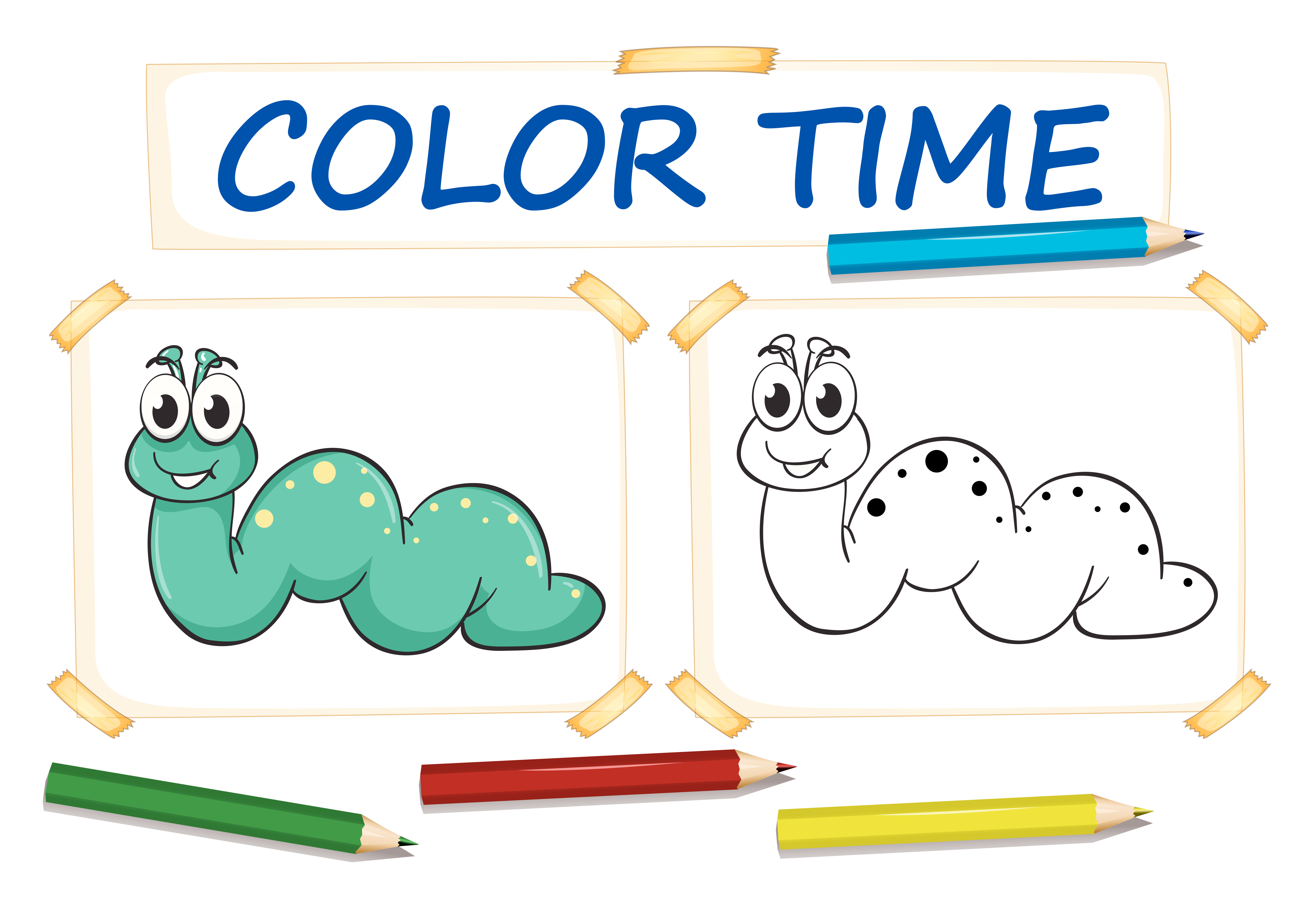 Coloring Template With Cute Worm