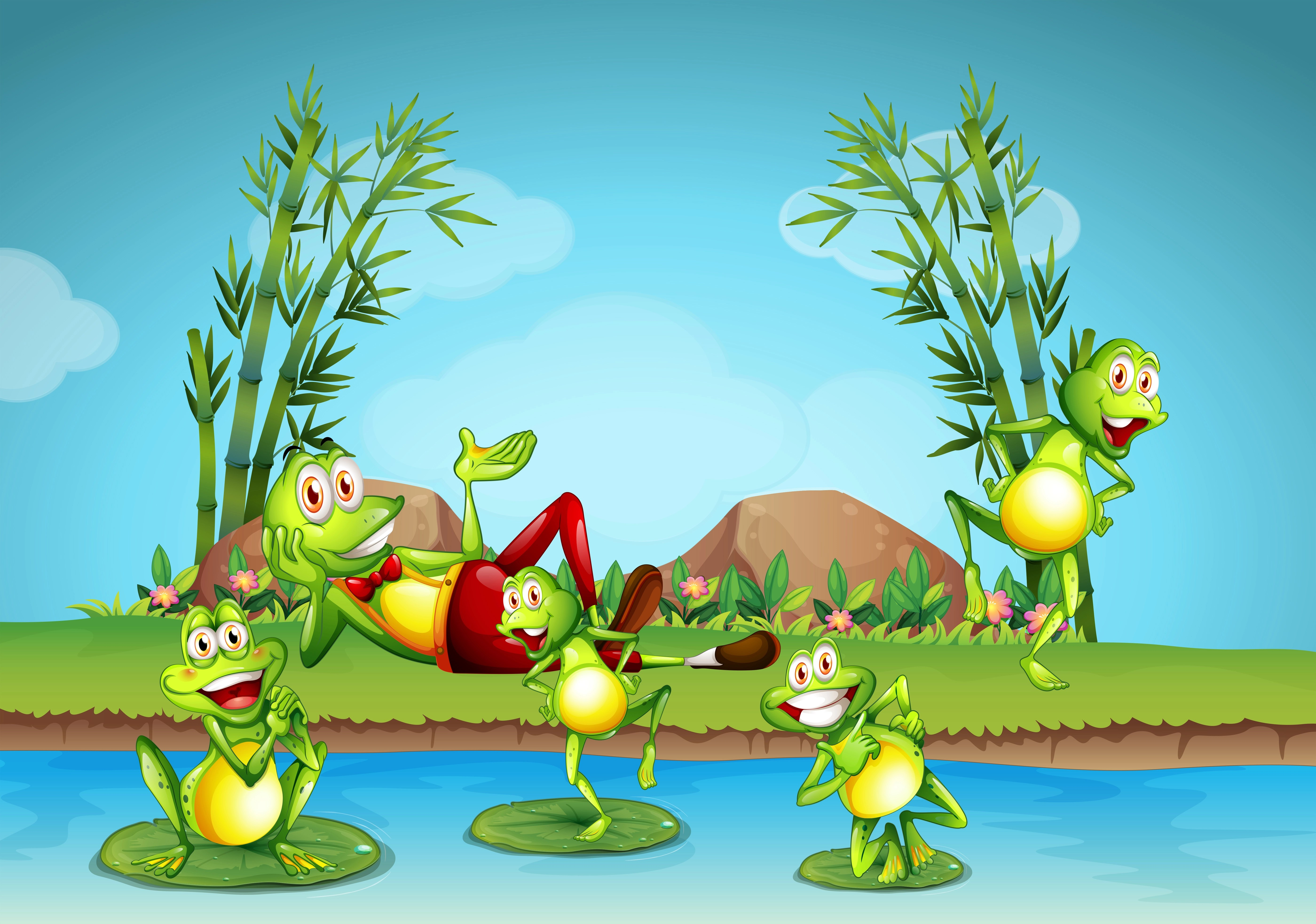 Five Frogs Living By The Pond