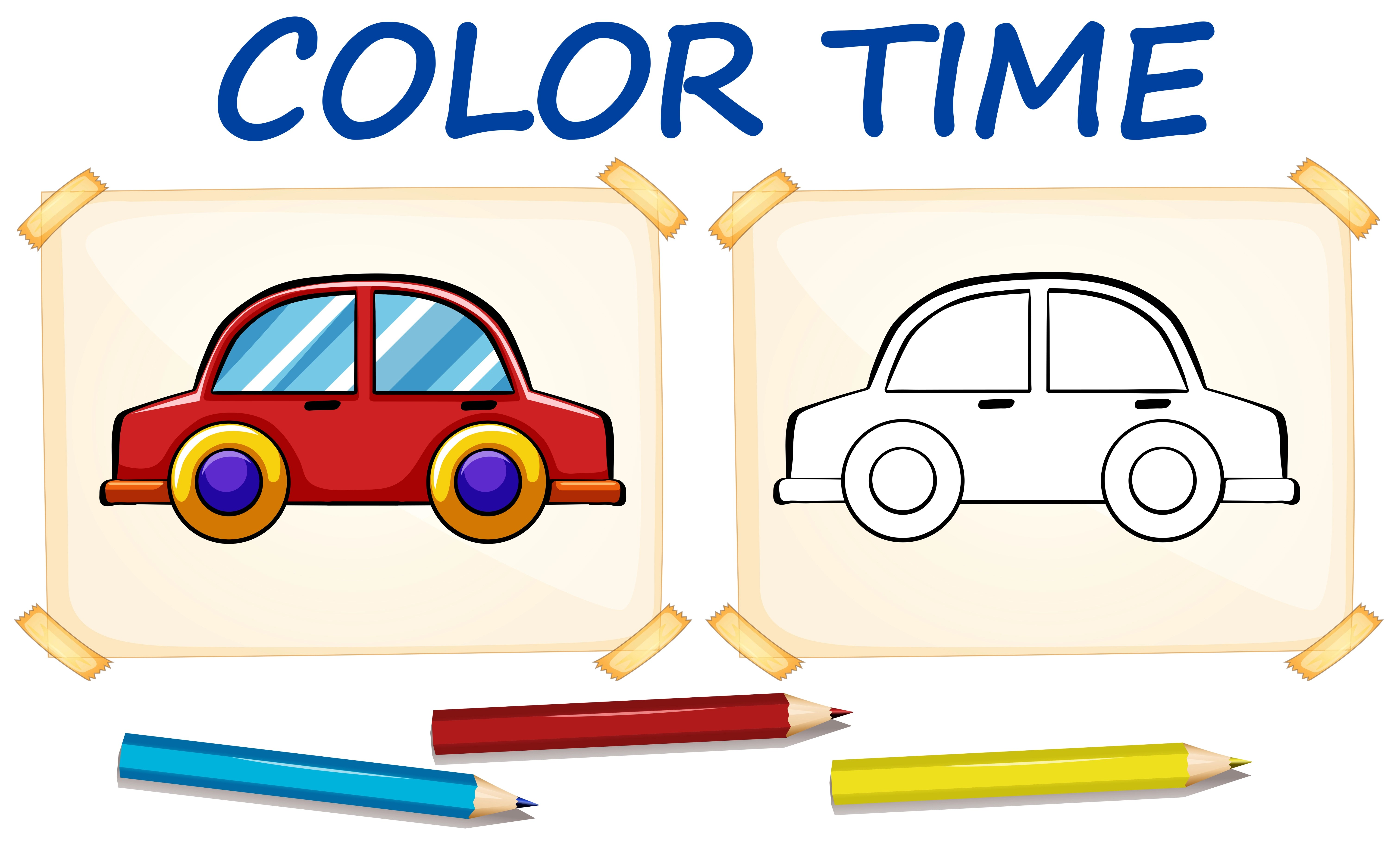 Coloring Template With Car