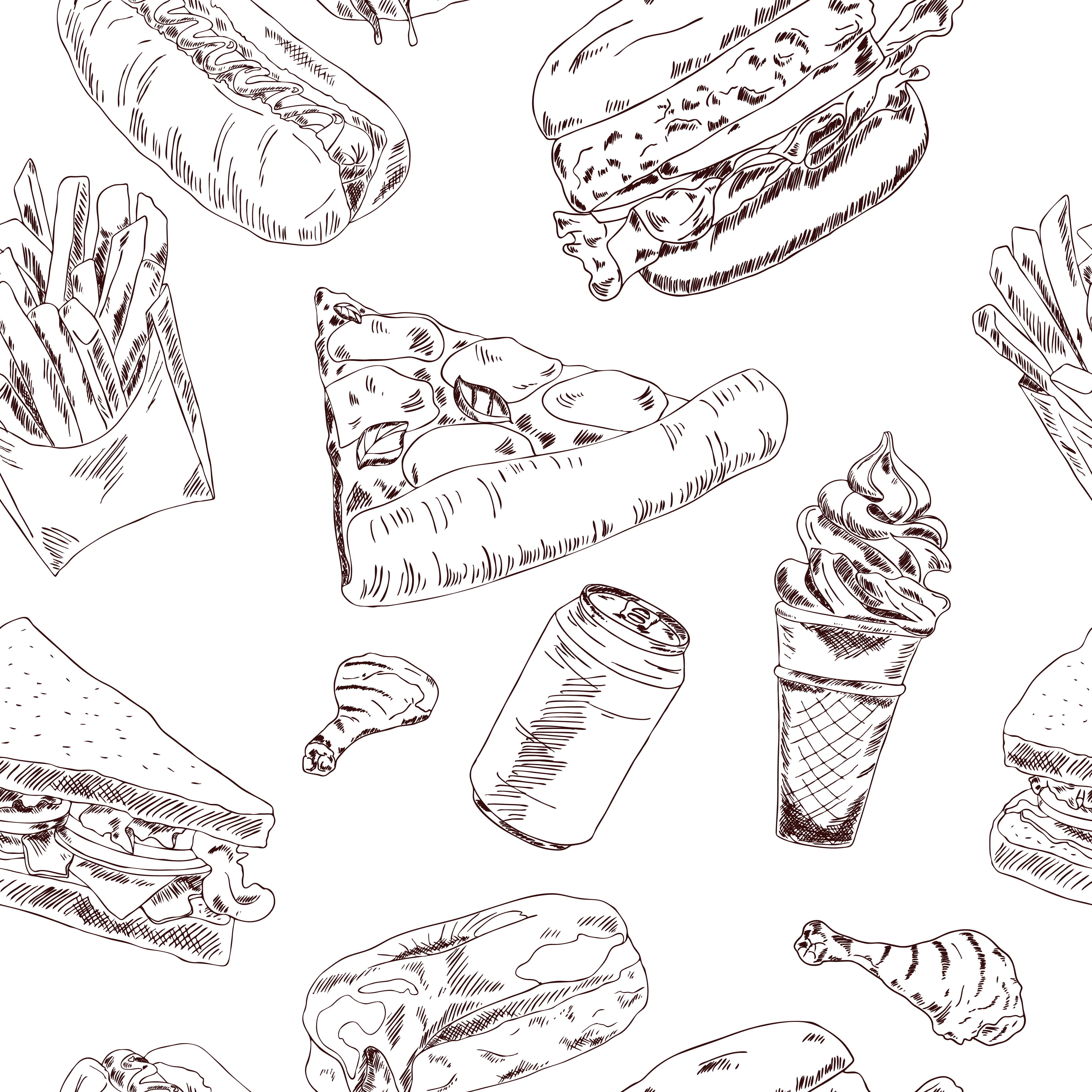 Fast Food Sketch Seamless