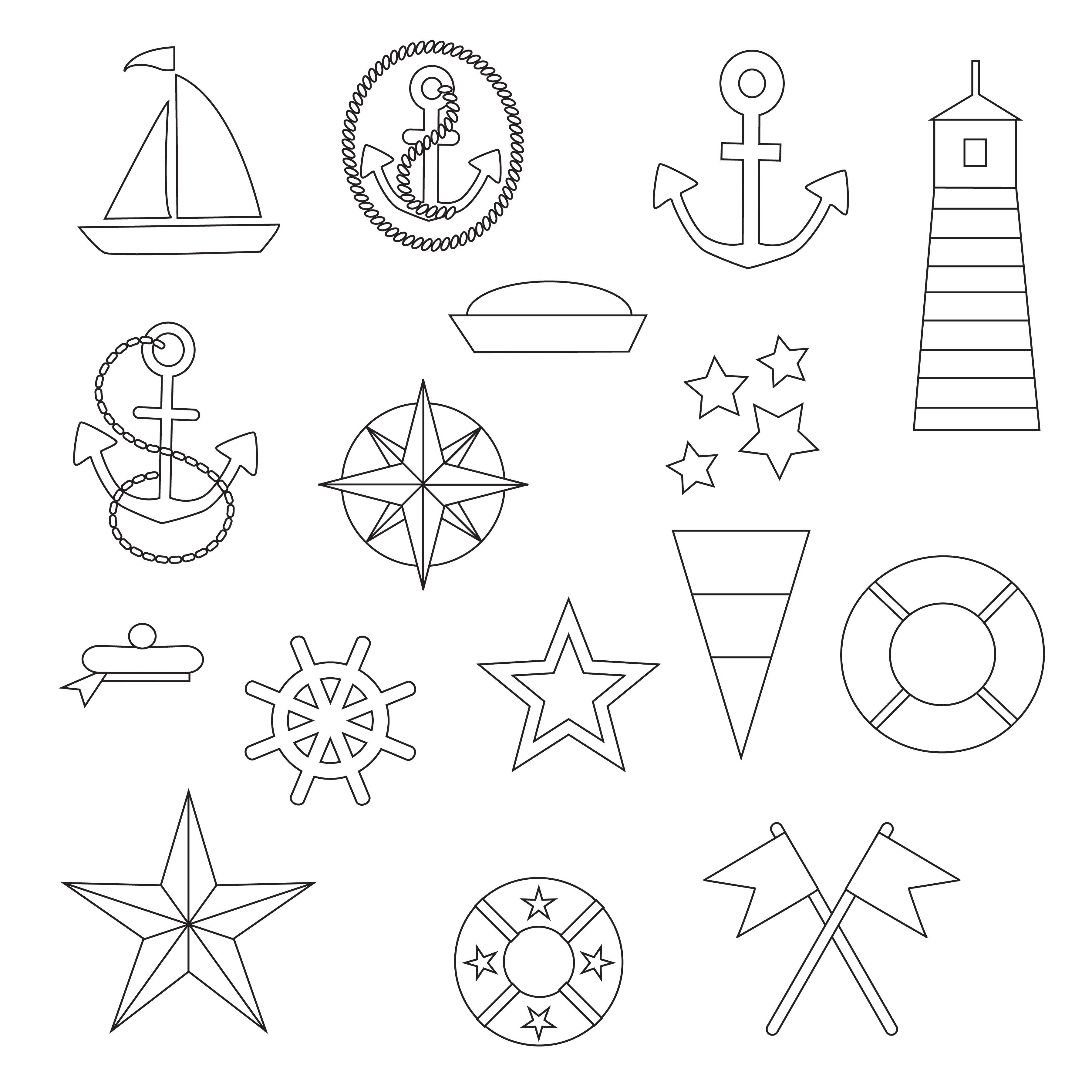 Nautical Digital Stamps Clipart