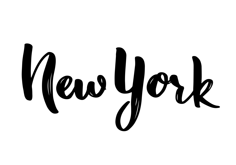 New York Hand Lettering Calligraphy Hand Drawn Brush