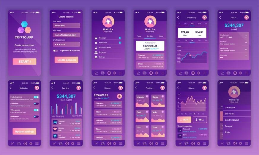Set of UI, UX, GUI screens Cryptocurrency app flat design ...