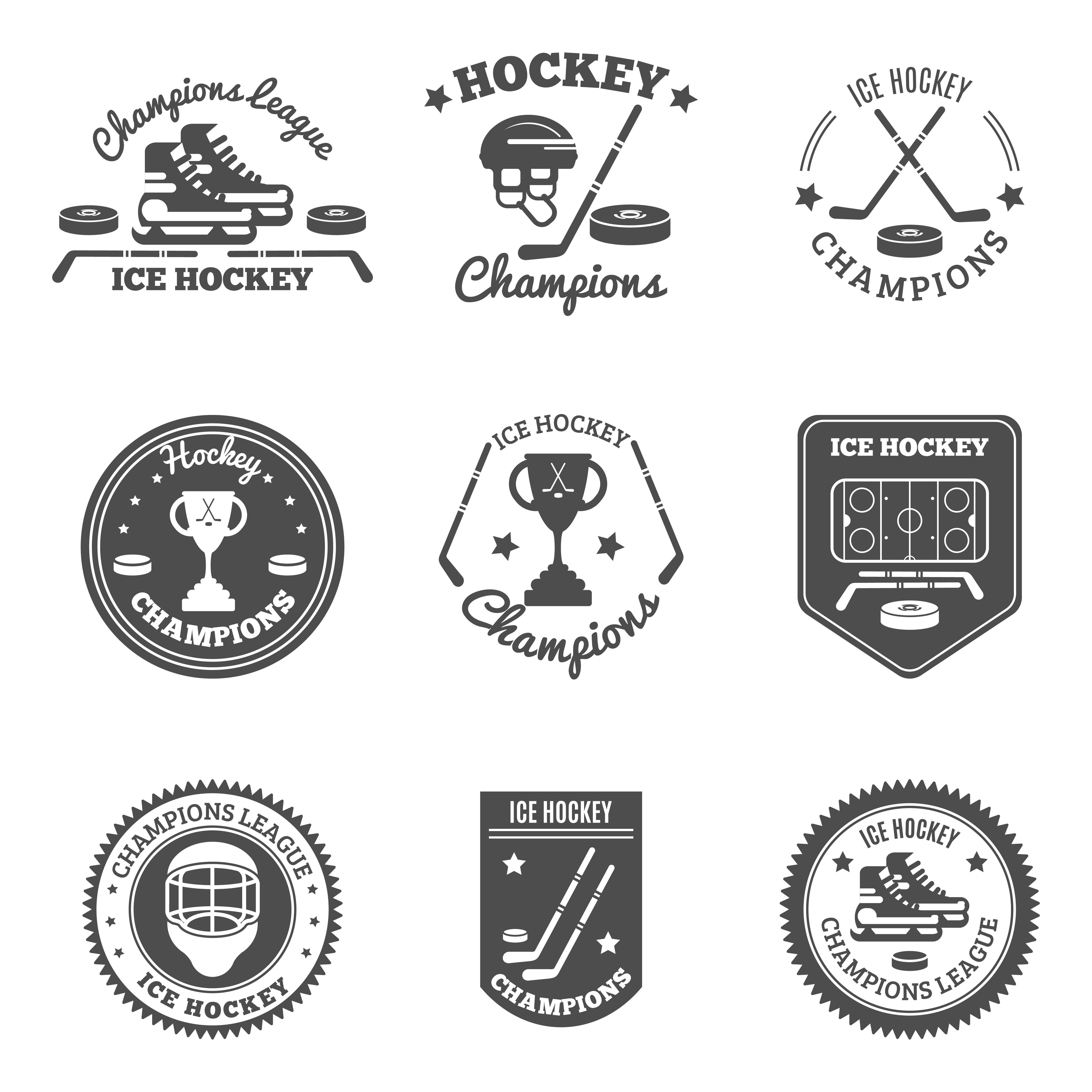 Hockey Labels Set