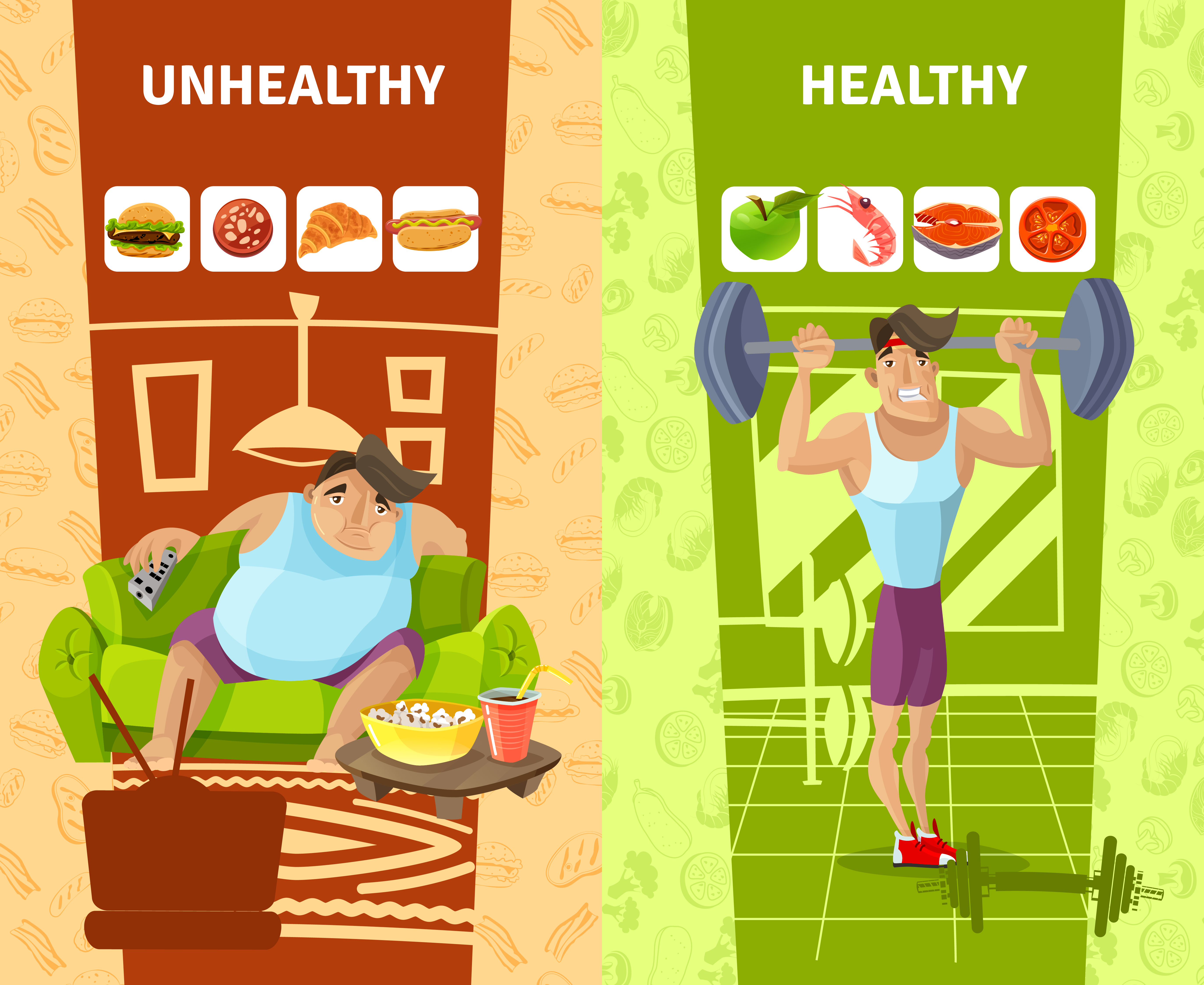Healthy And Unhealthy Man Banners Set
