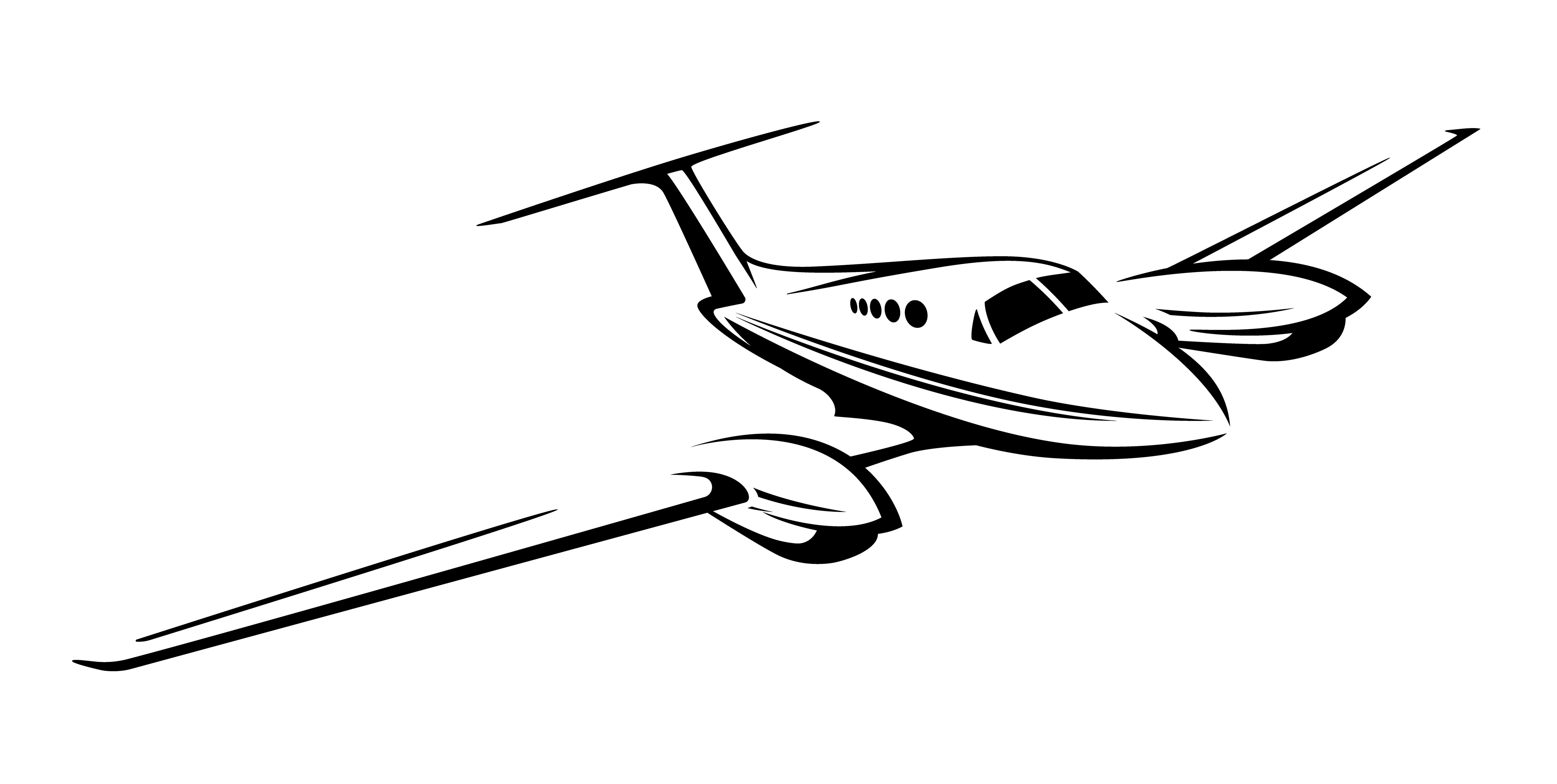 Small Private Twin Engine Airplane Vector Illustration