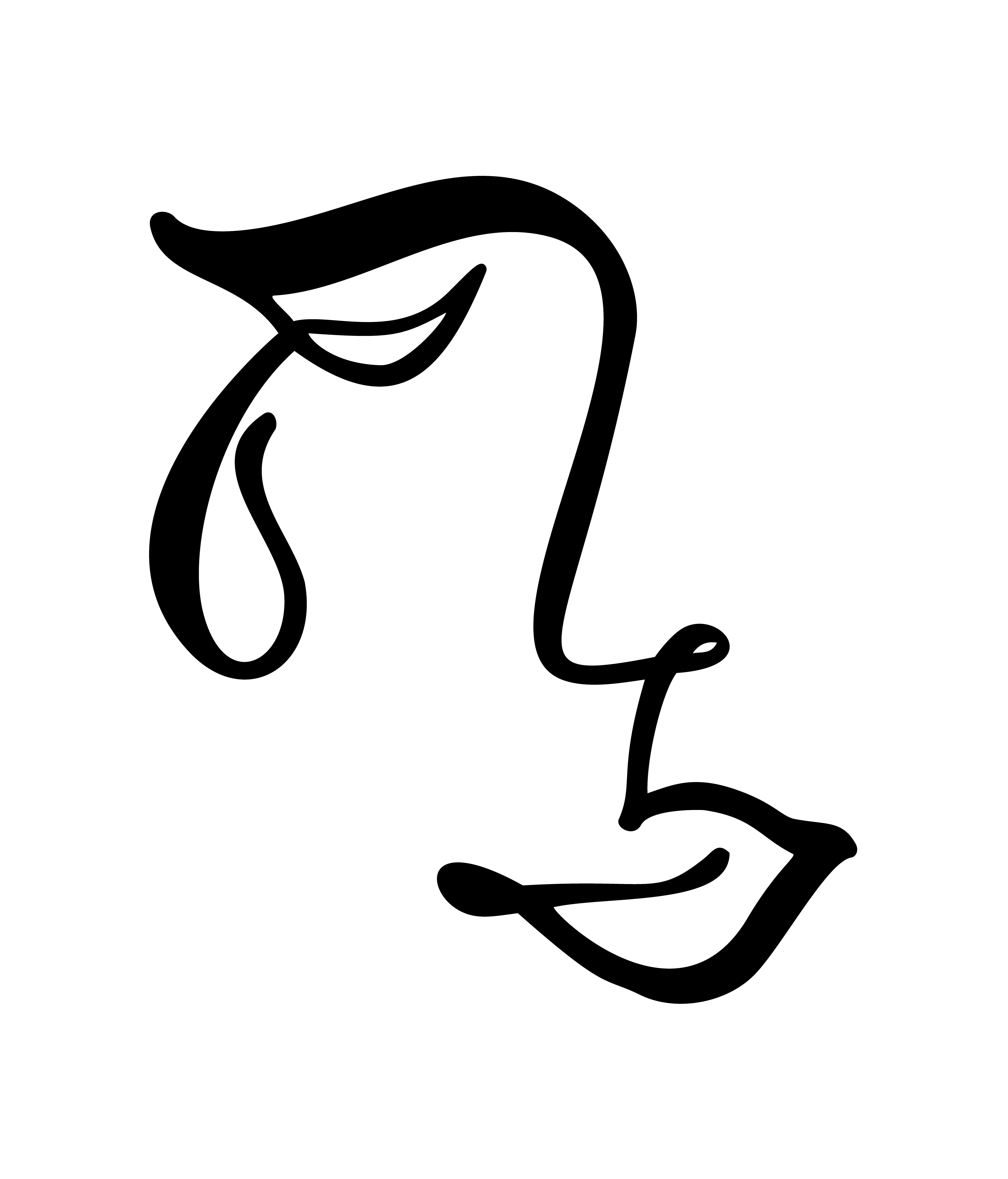 Vector Continuous Line Drawing Of Sad Woman Face Fashion
