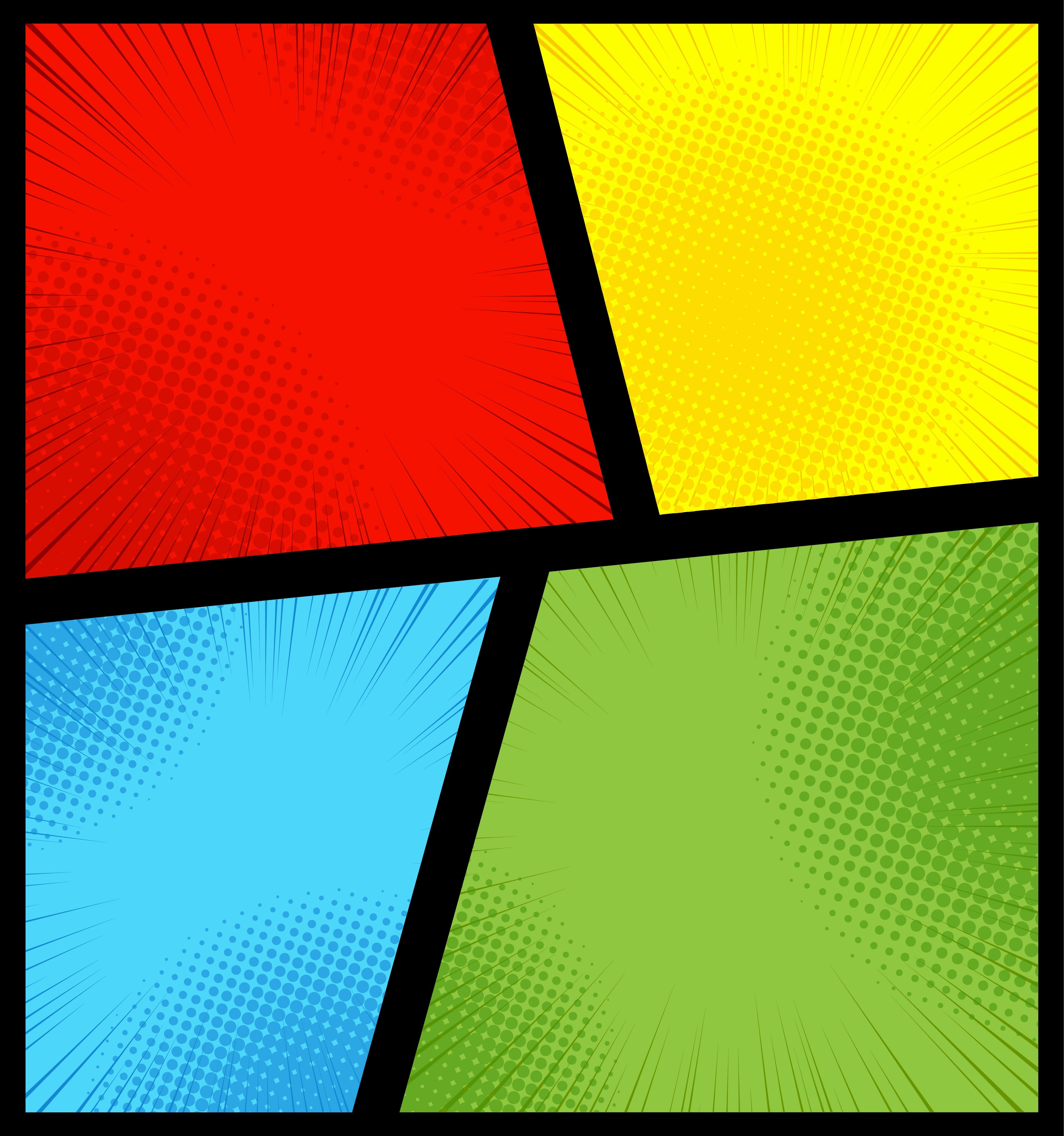 Comic Book Page Background With Radial Halftone Effects
