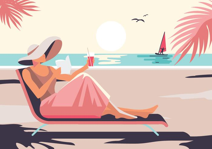 Relaxed Woman Enjoying Sunshine while Relaxing on the Beach - Download Free  Vectors, Clipart Graphics & Vector Art