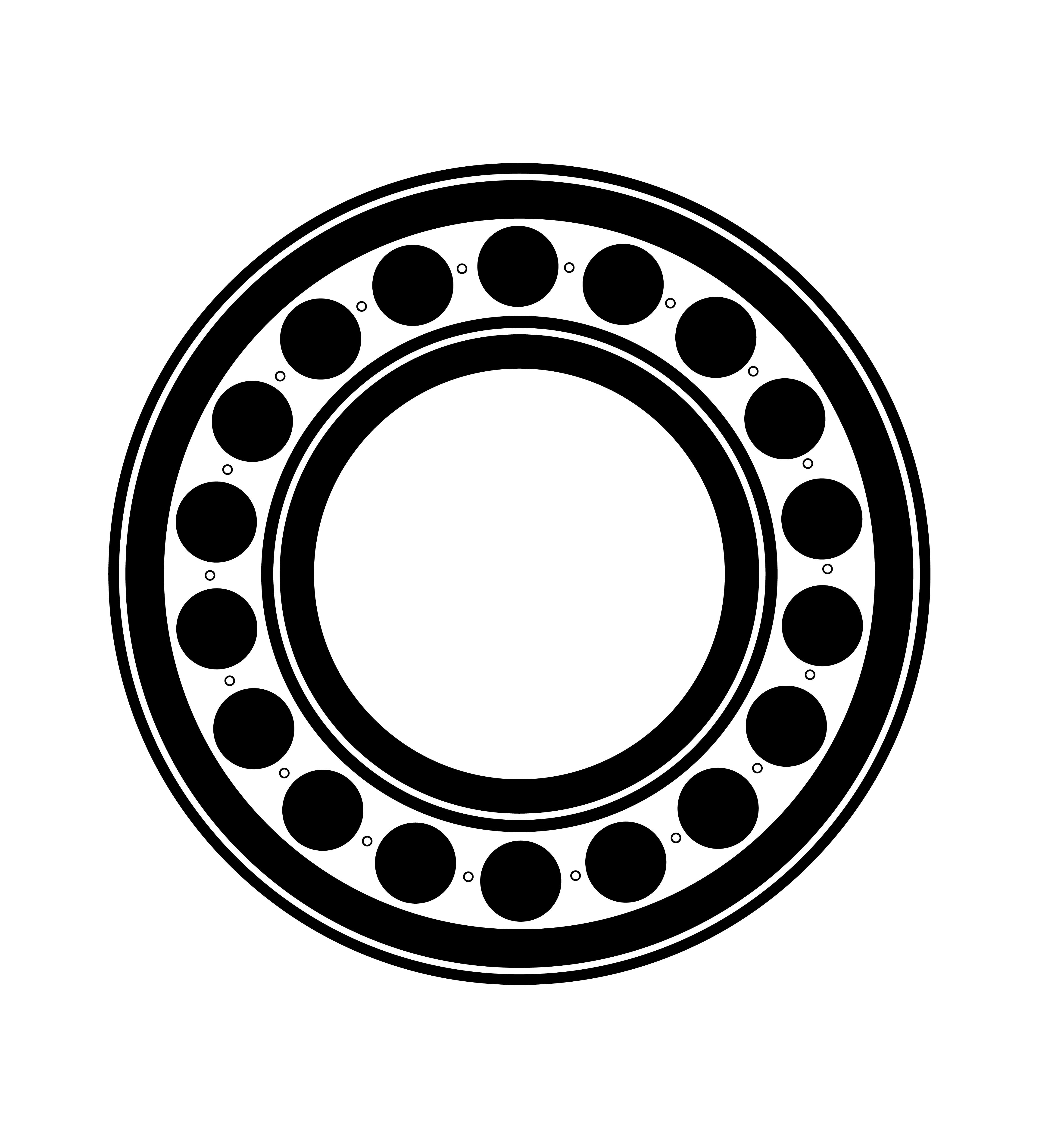Metal Ball Bearing Black Silhouette Outline Vector