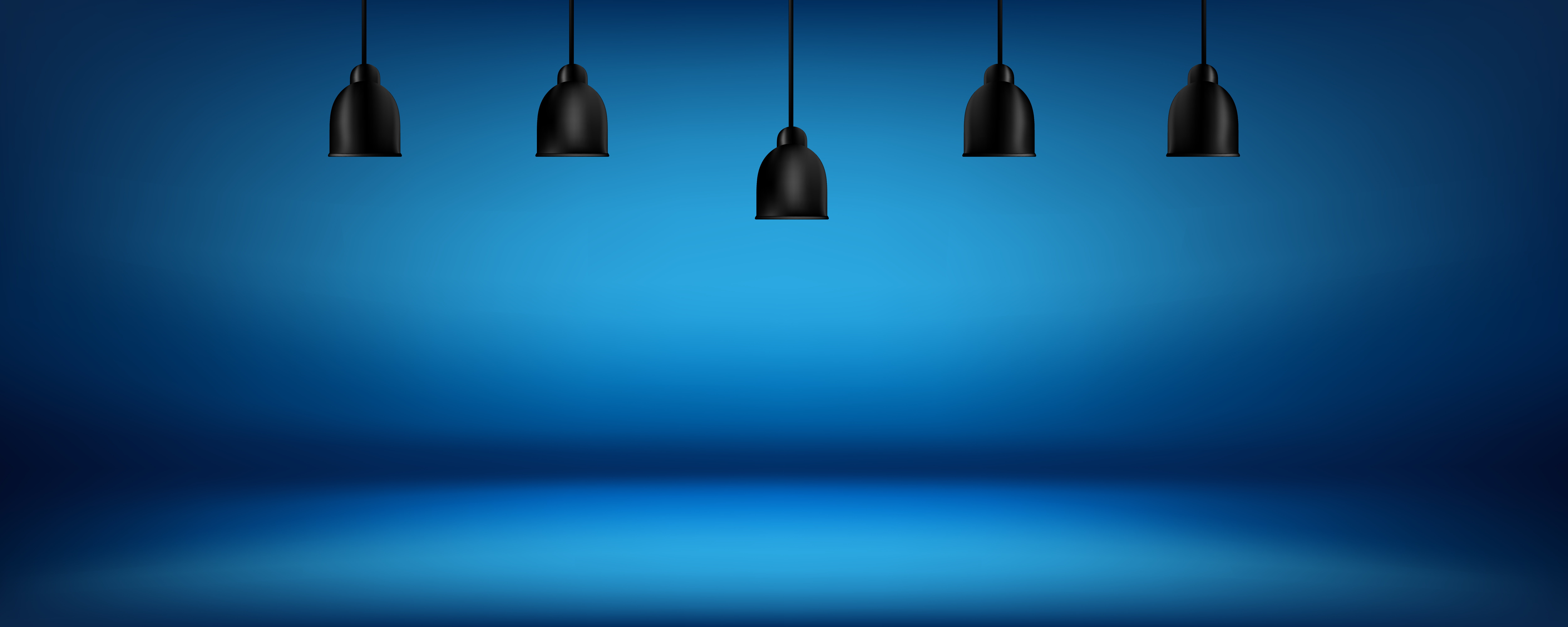 Blue Background With Light Boxes On Ceiling Abstract Gradient Studio And Wall Texture