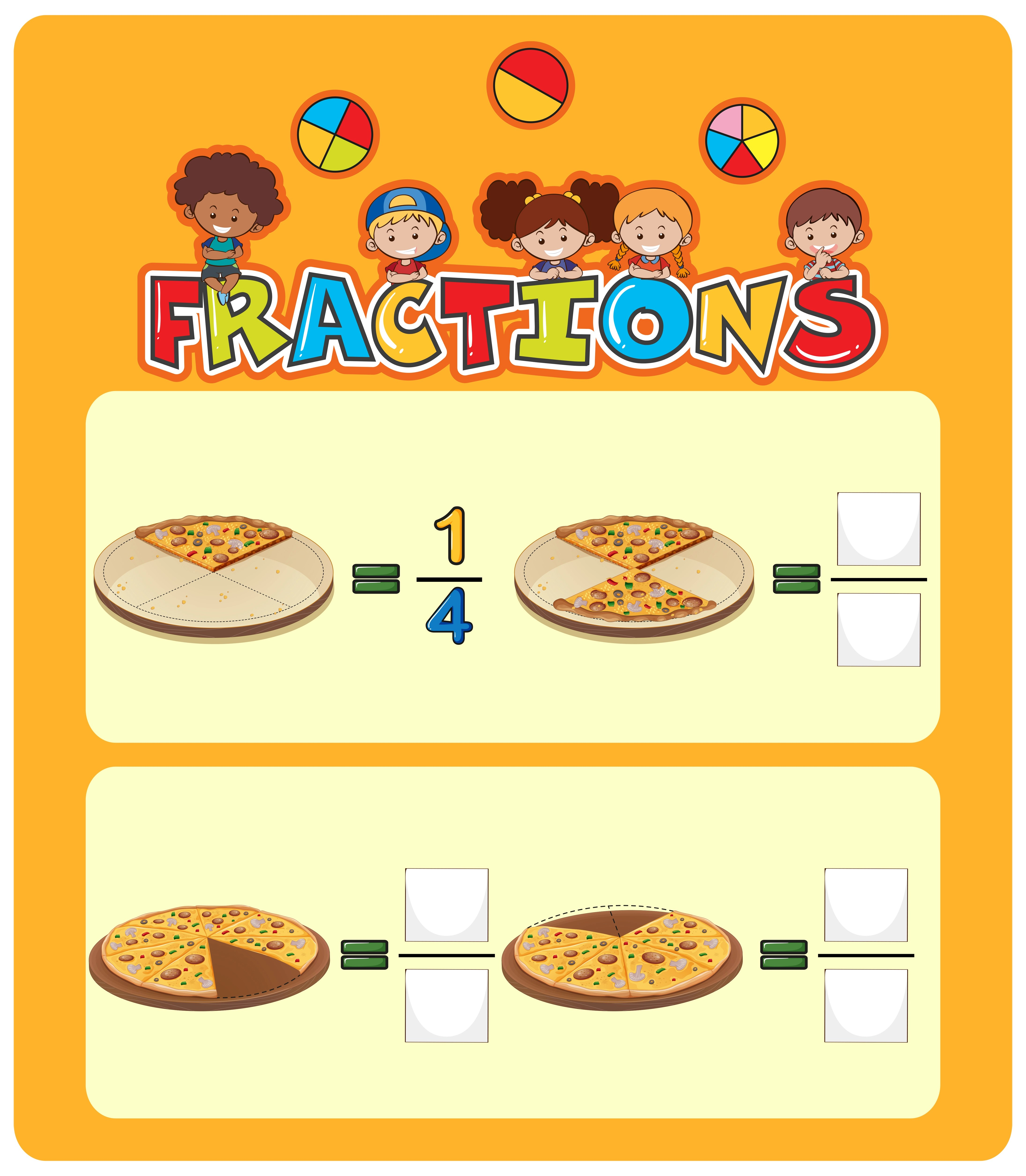 Pizza Fractions Math Worksheet