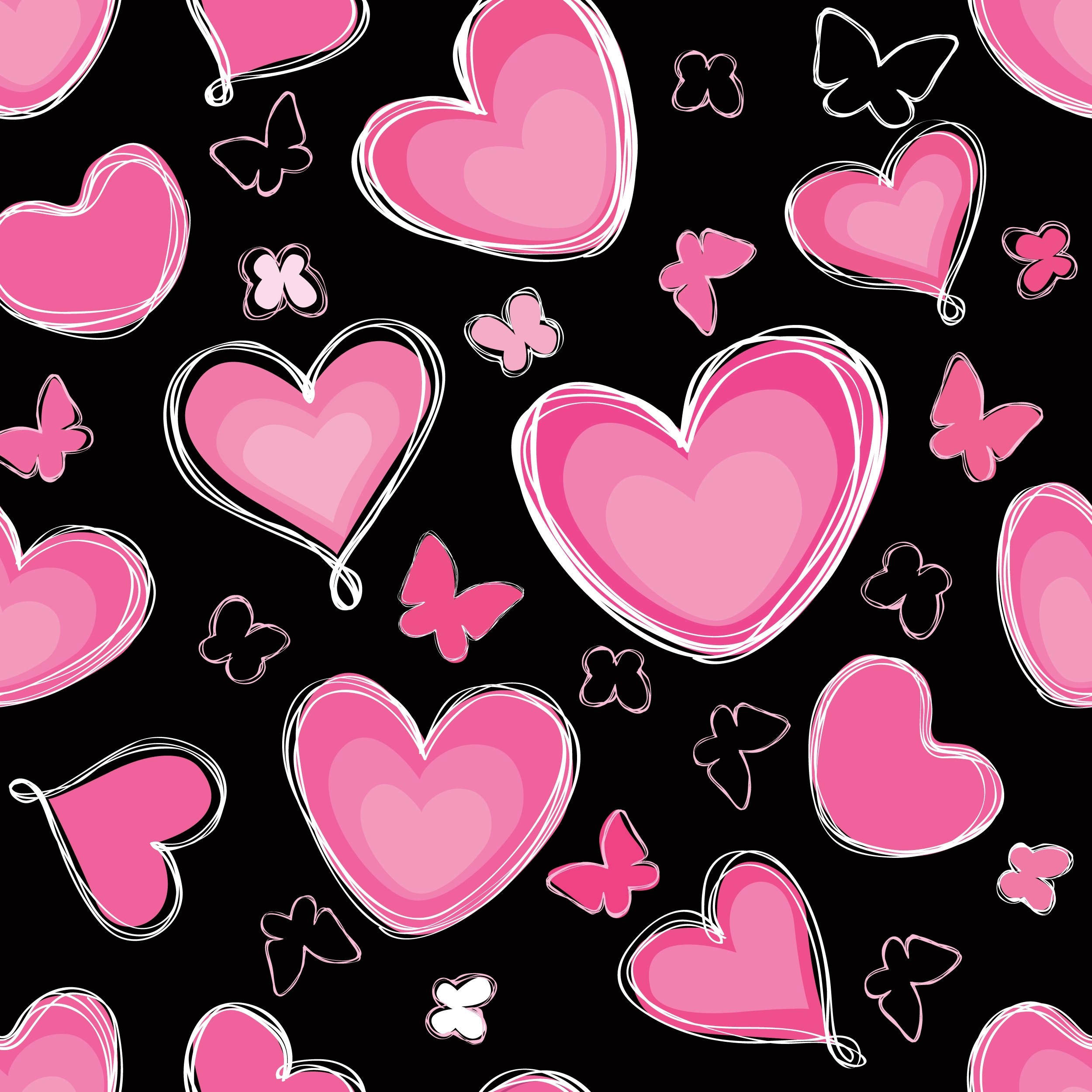 Love Heart Doodle Seamless Pattern Valentine Day Holiday