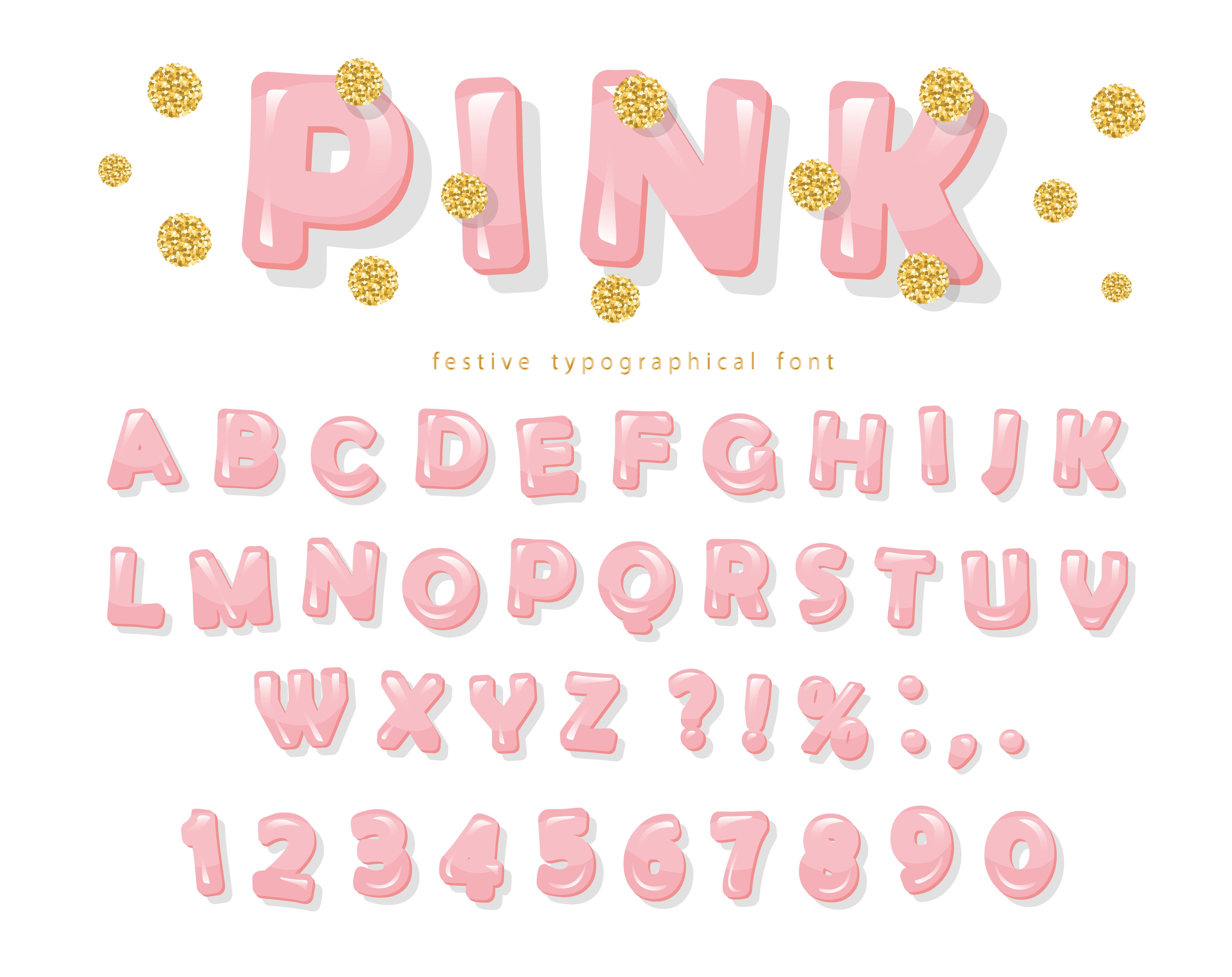 Pink Glossy Font Abc Letters And Numbers For Girls Gold