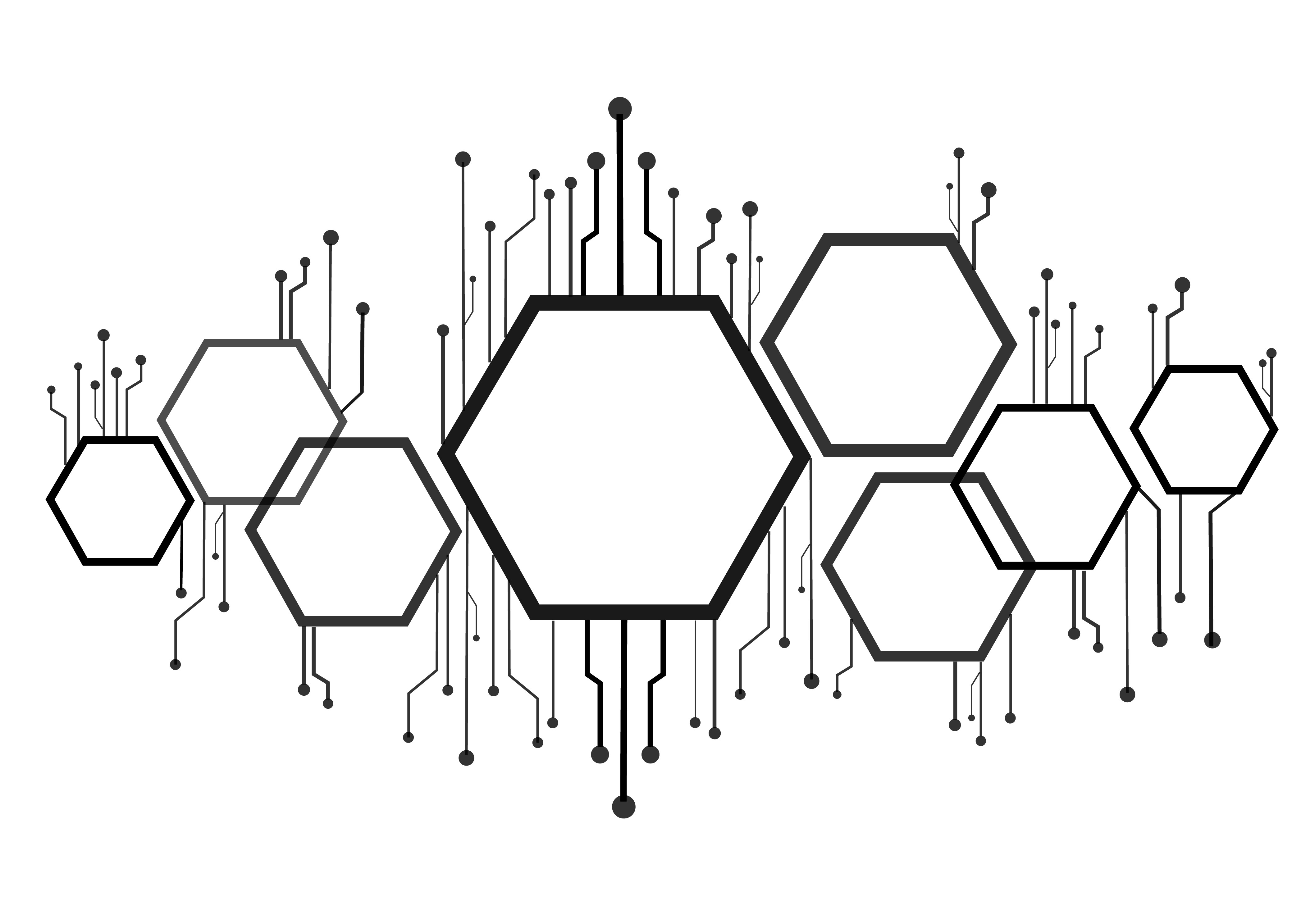 Abstract Bee Hive Hexagon And Technology Line Background