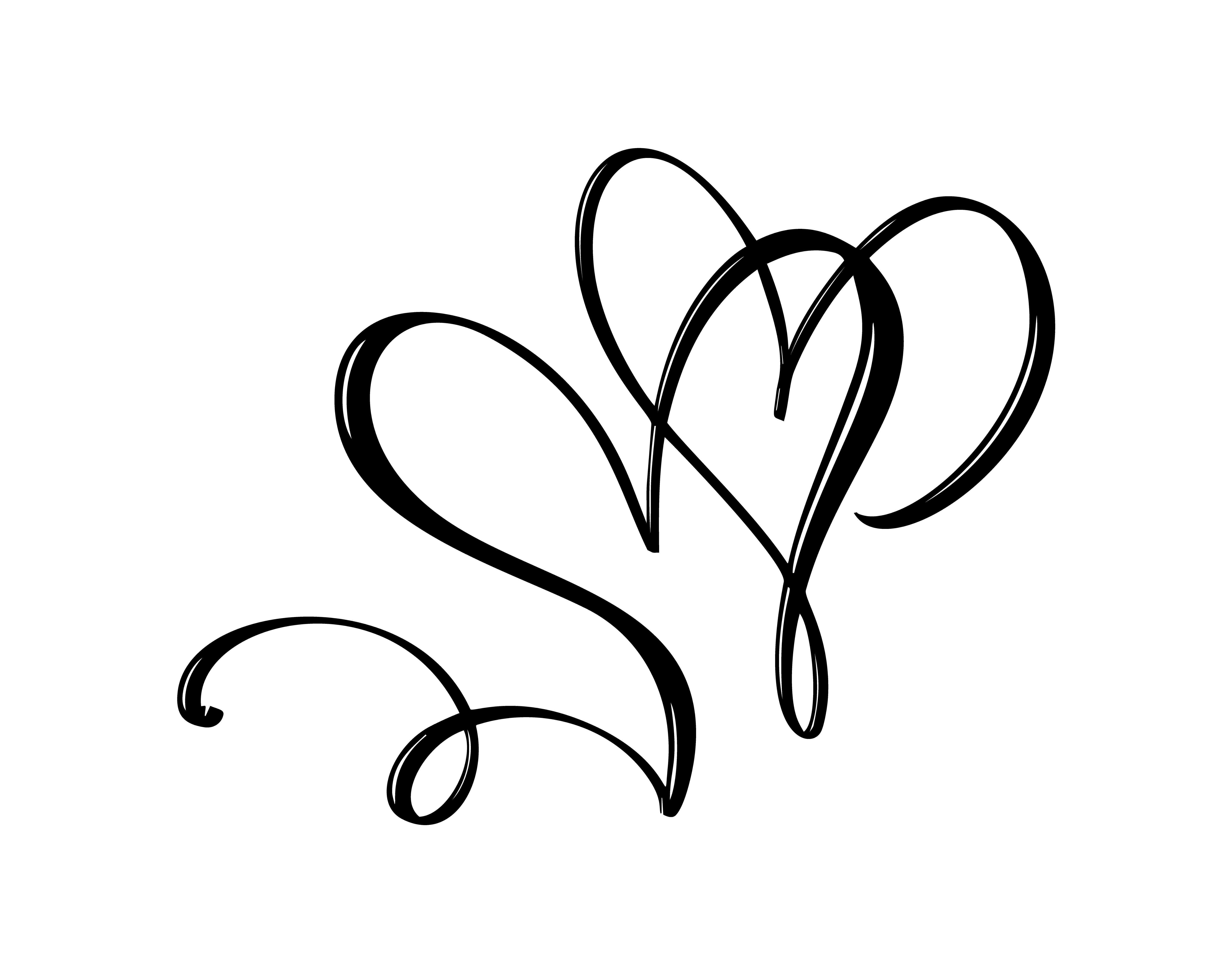 Hand Drawn Two Heart Love Sign Romantic Calligraphy