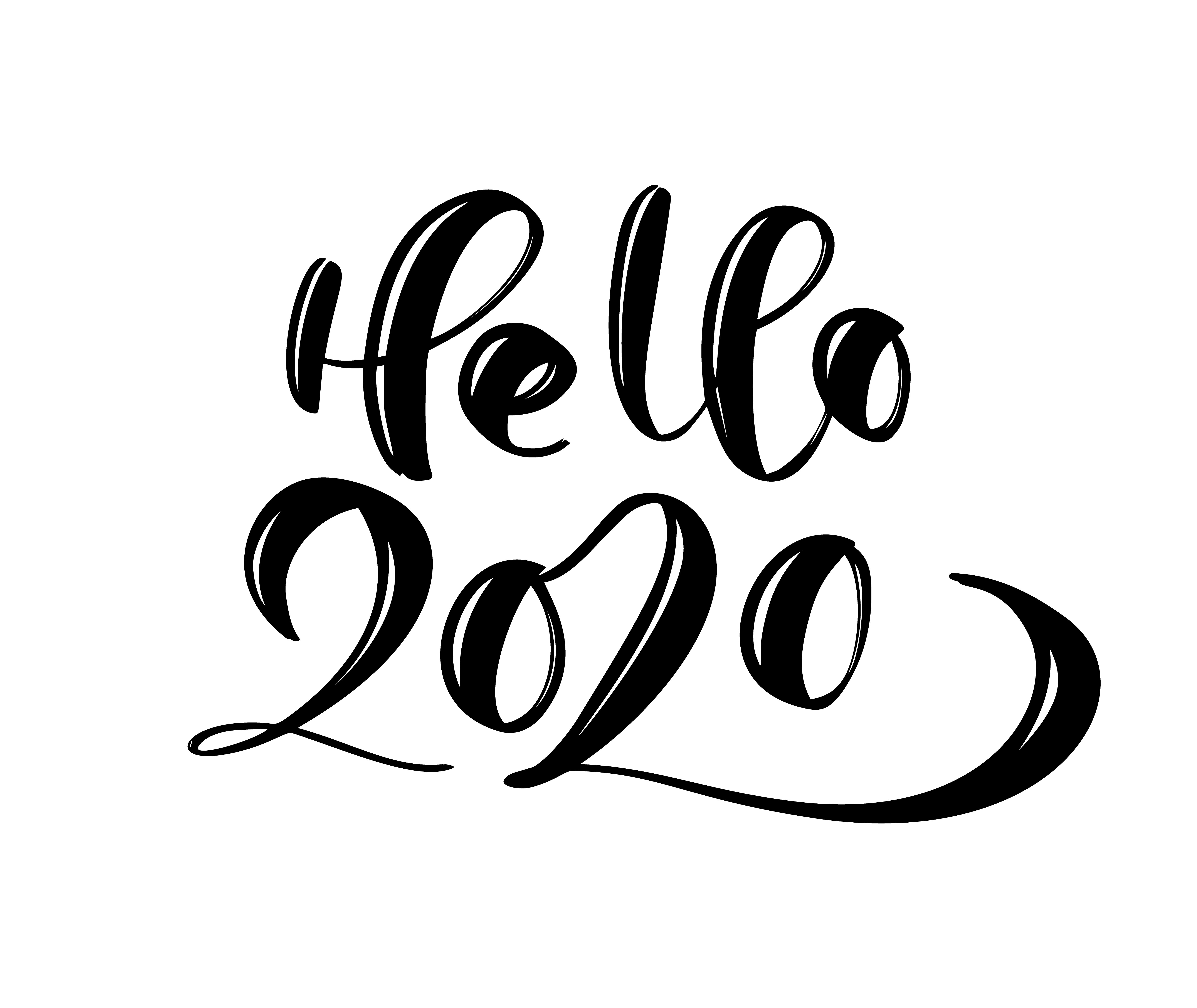Hand Drawn Vector Lettering Calligraphy Black Number Text