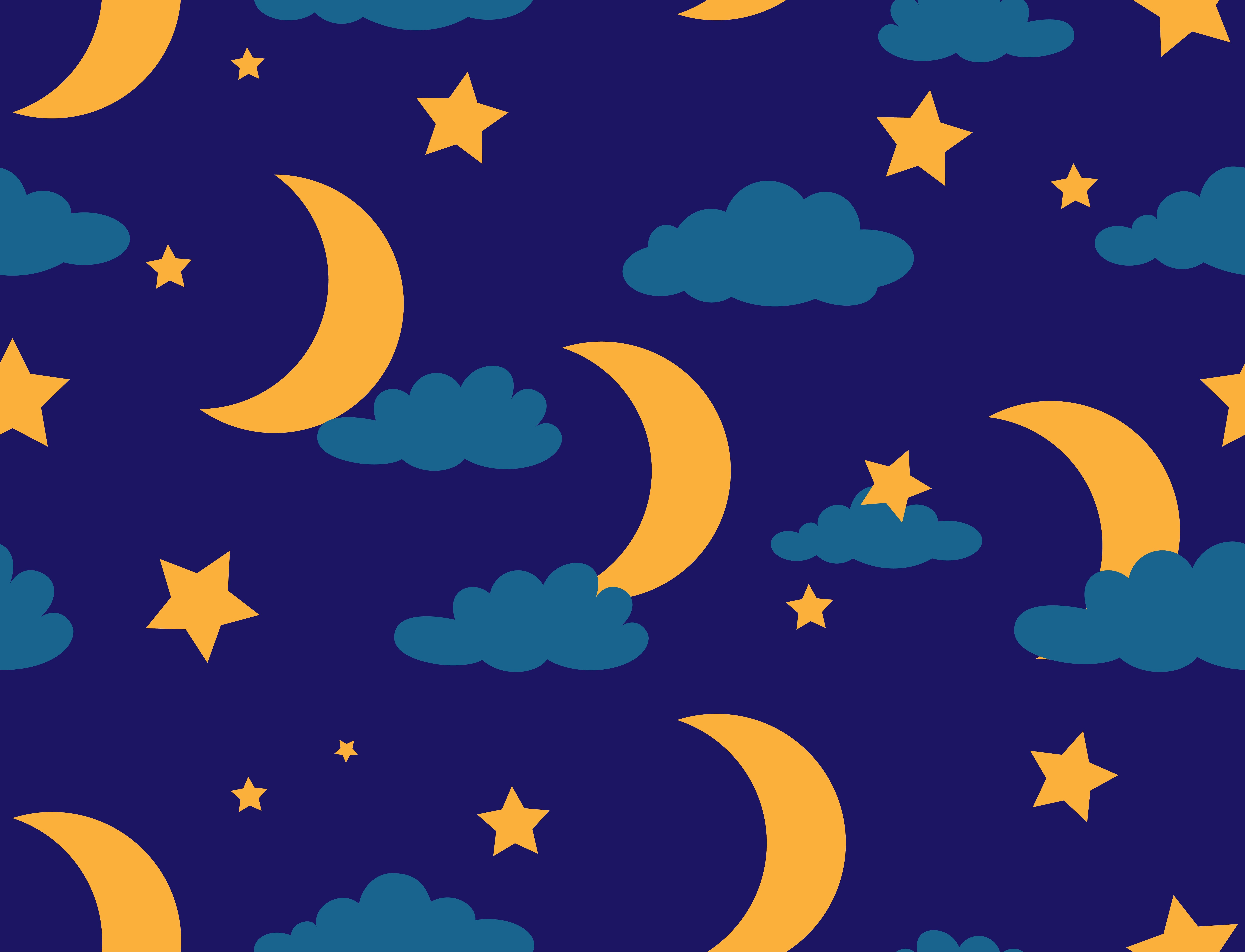 Seamless Pattern Of Moon And Star On Night Sky Background
