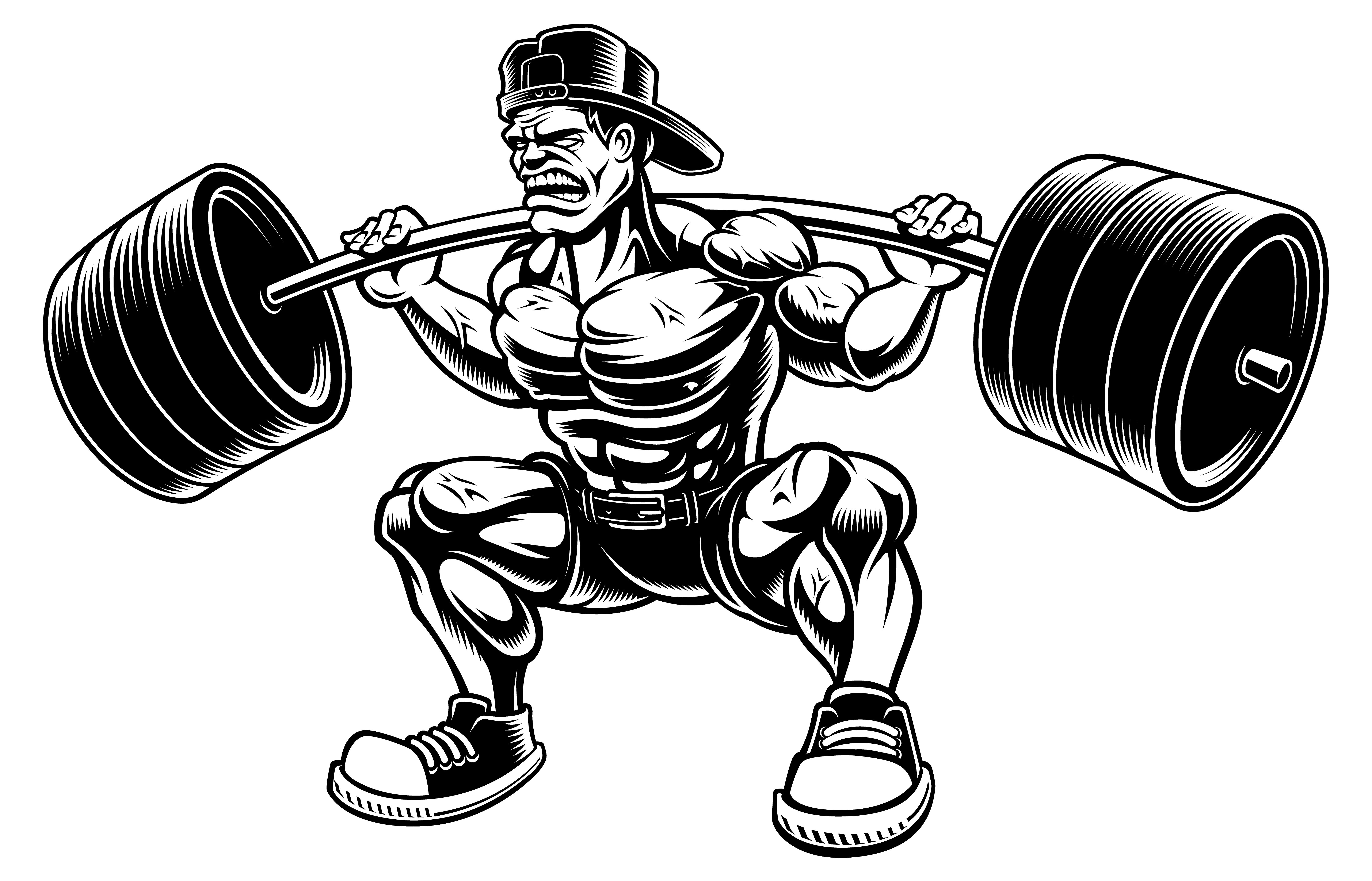 Vector Illustration Of Bodybuilder Doing Squats With
