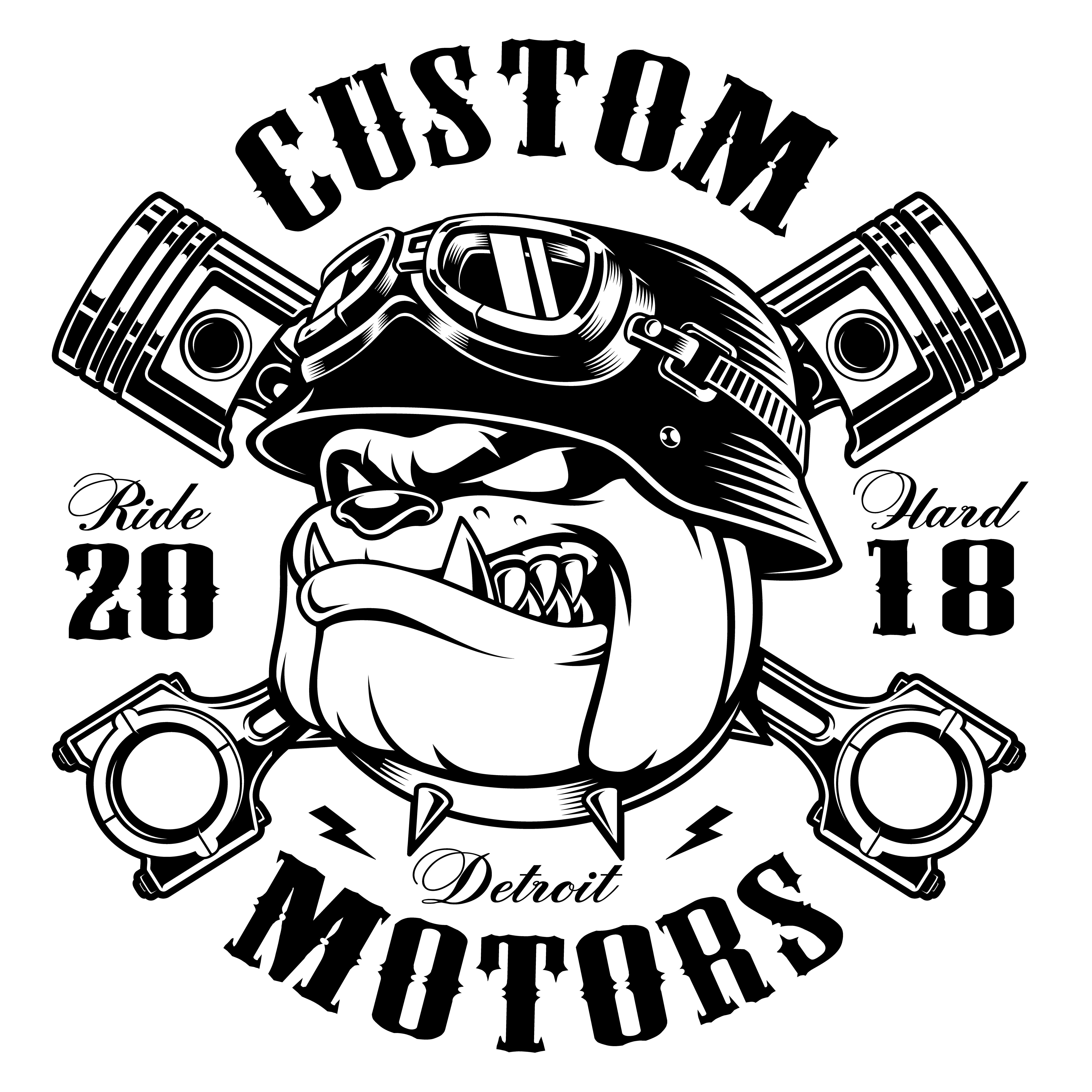 Biker Bulldog Biker T Shirt Design Monochrome Version