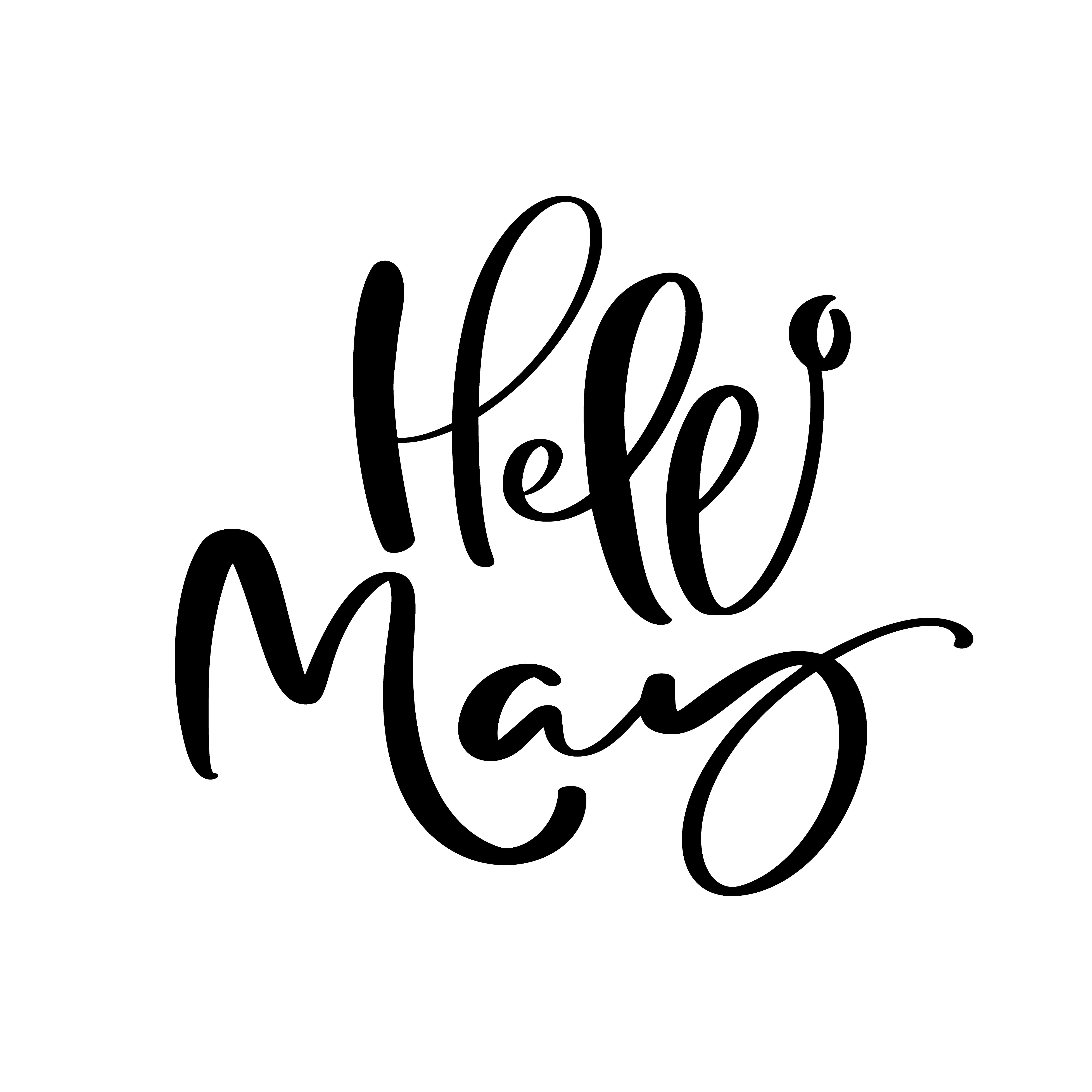 Hello May Hand Drawn Calligraphy Text And Brush Pen