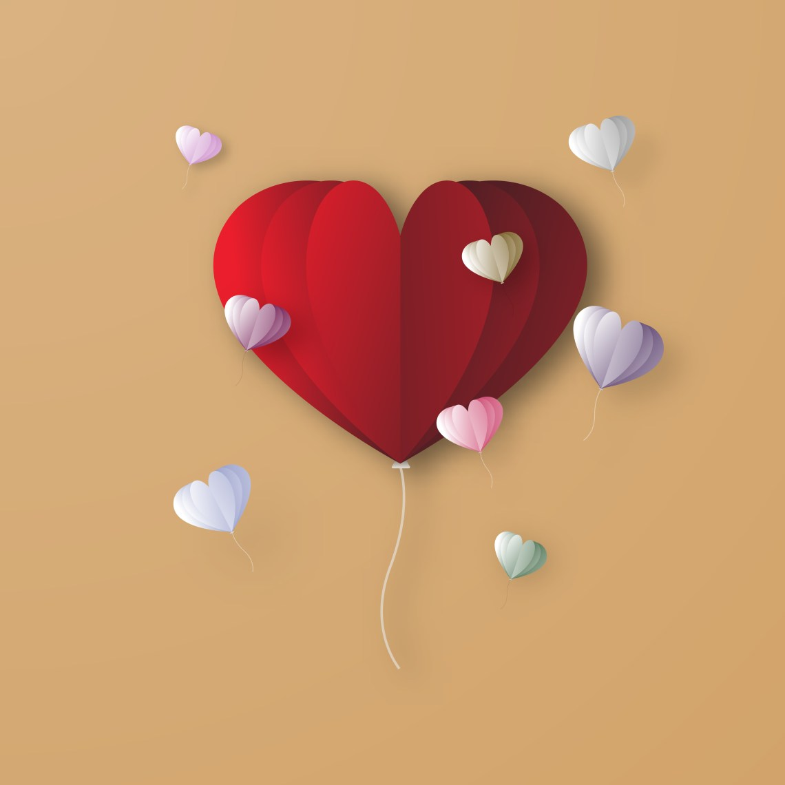 Download Red heart balloon digital papercraft graphic design ...