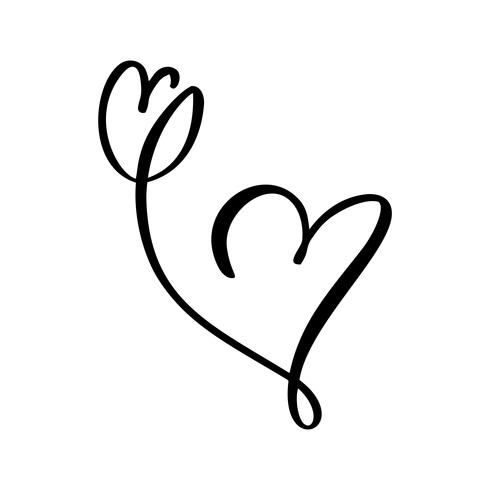 Download Hand drawn two Heart and tulip flower love sign. Romantic ...