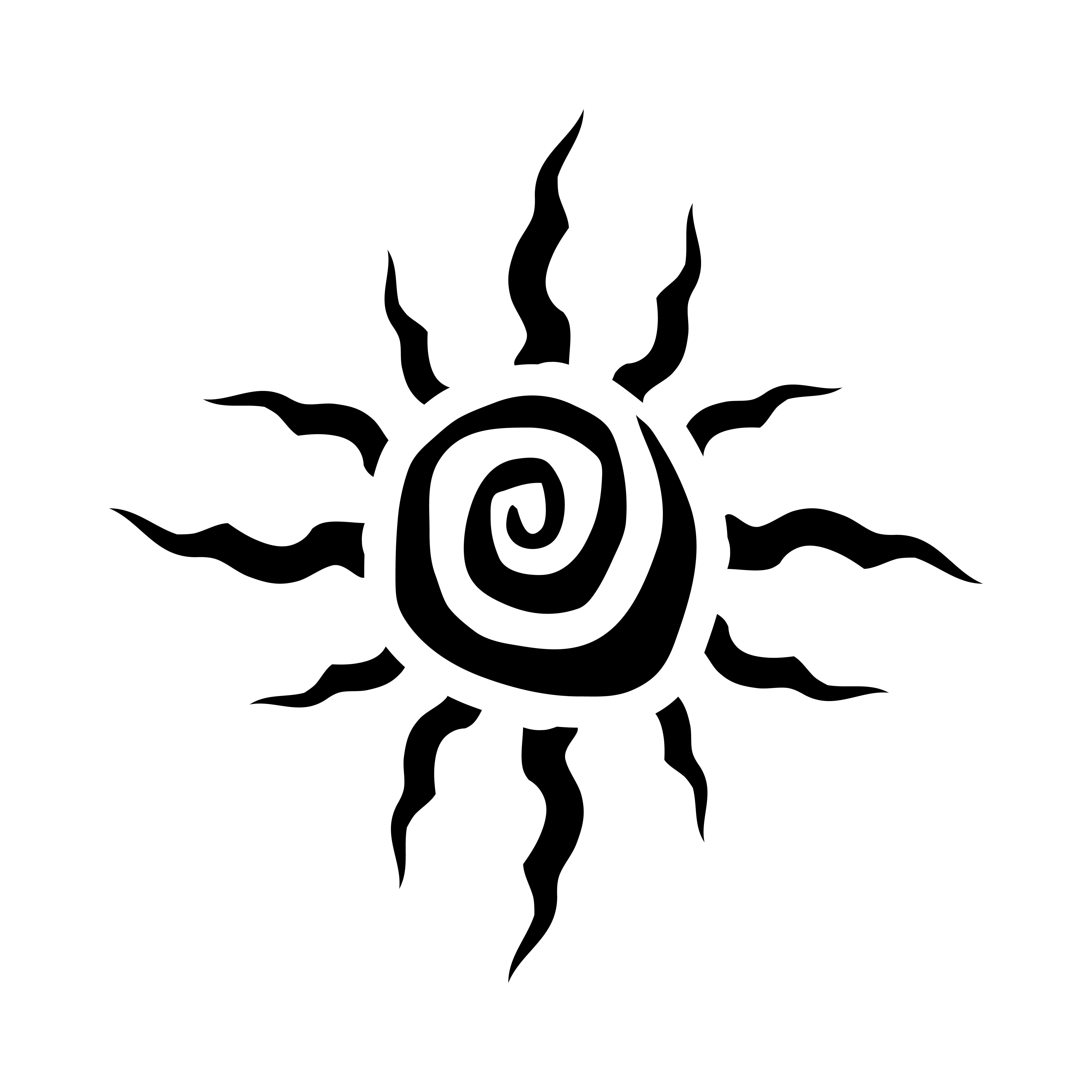 Tribal Sun Spiral Vector Icon