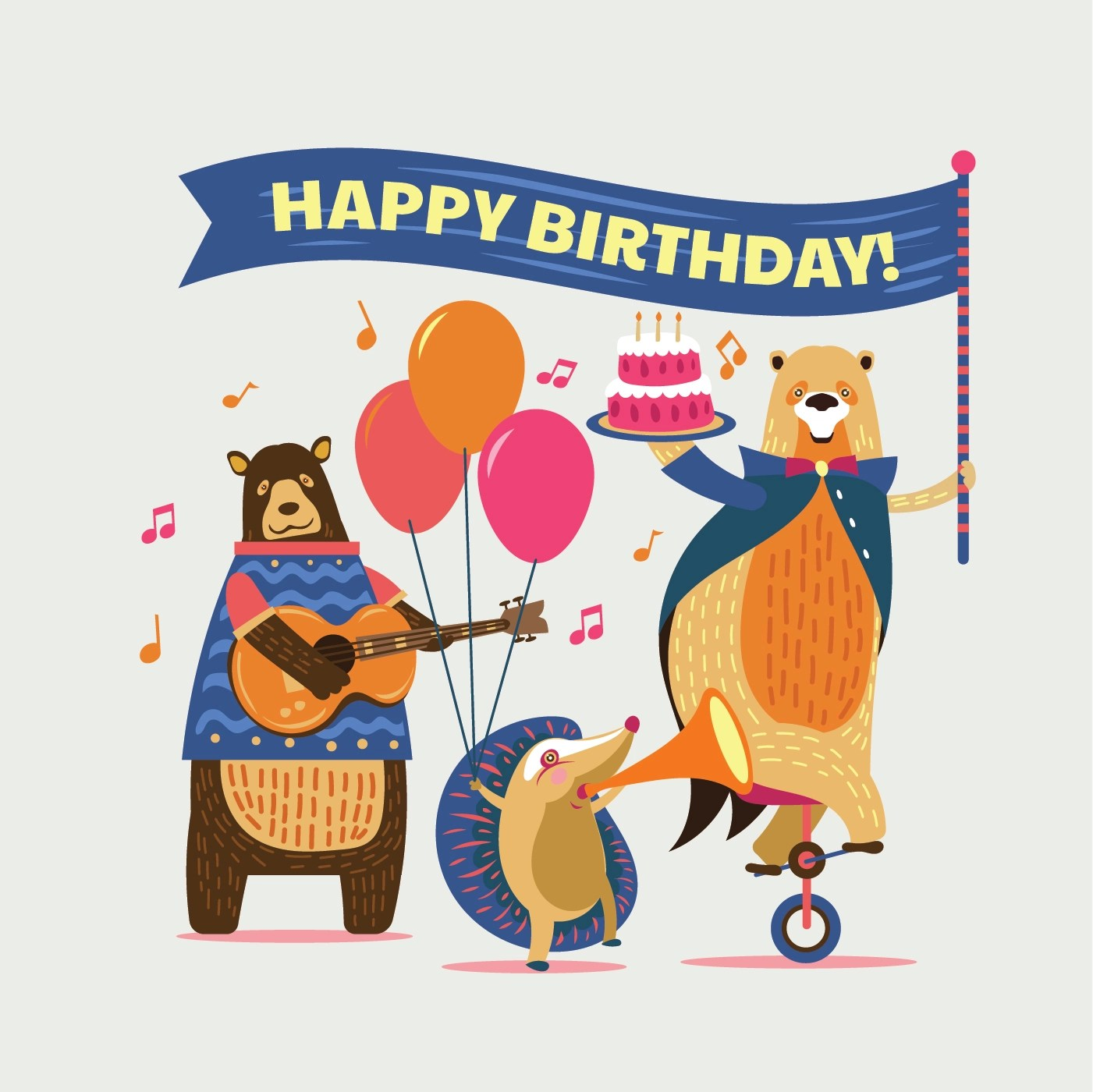 Cute Cartoon Animals Illustration For Kids Happy Birthday