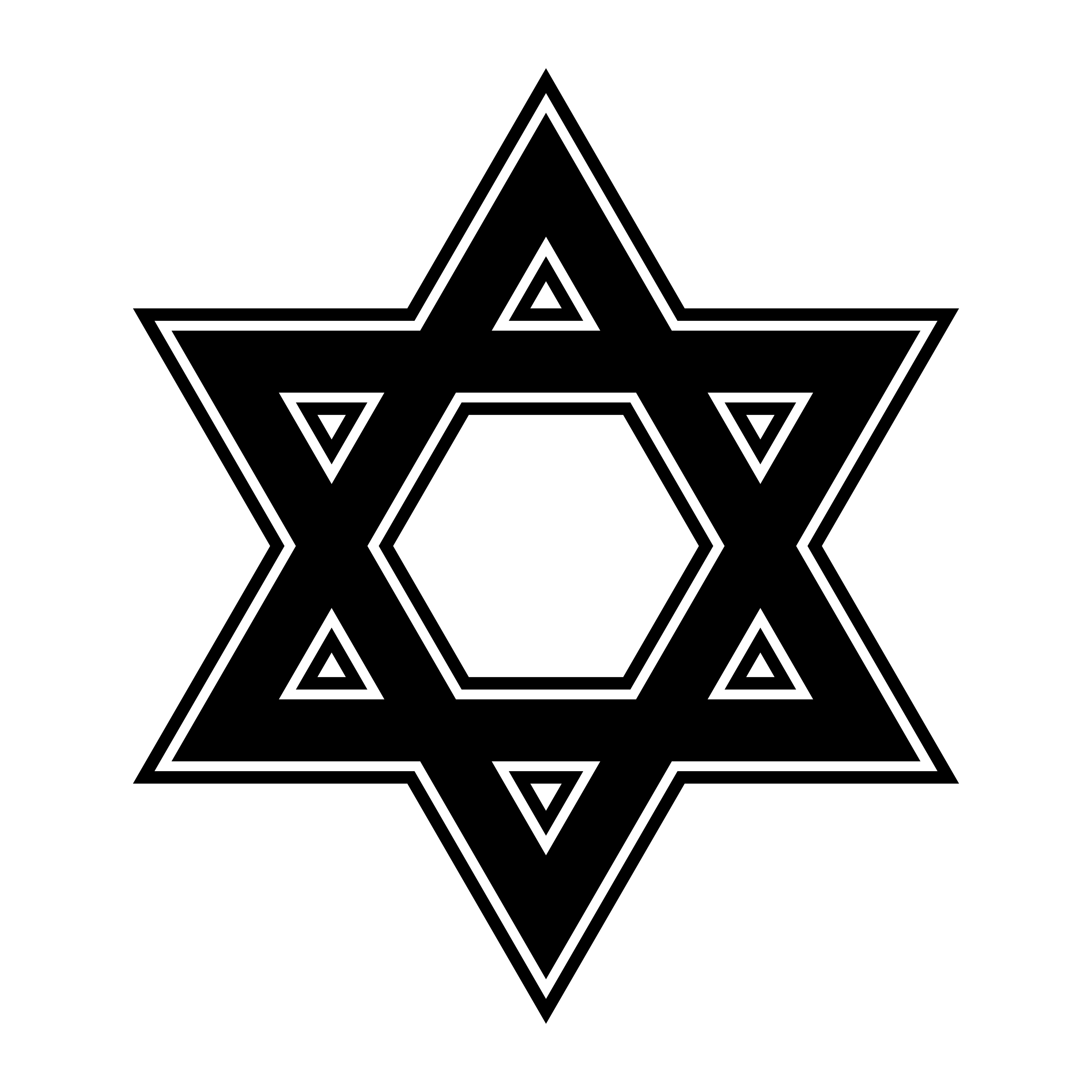 Jewish Star Of David Six Pointed Star In Black With