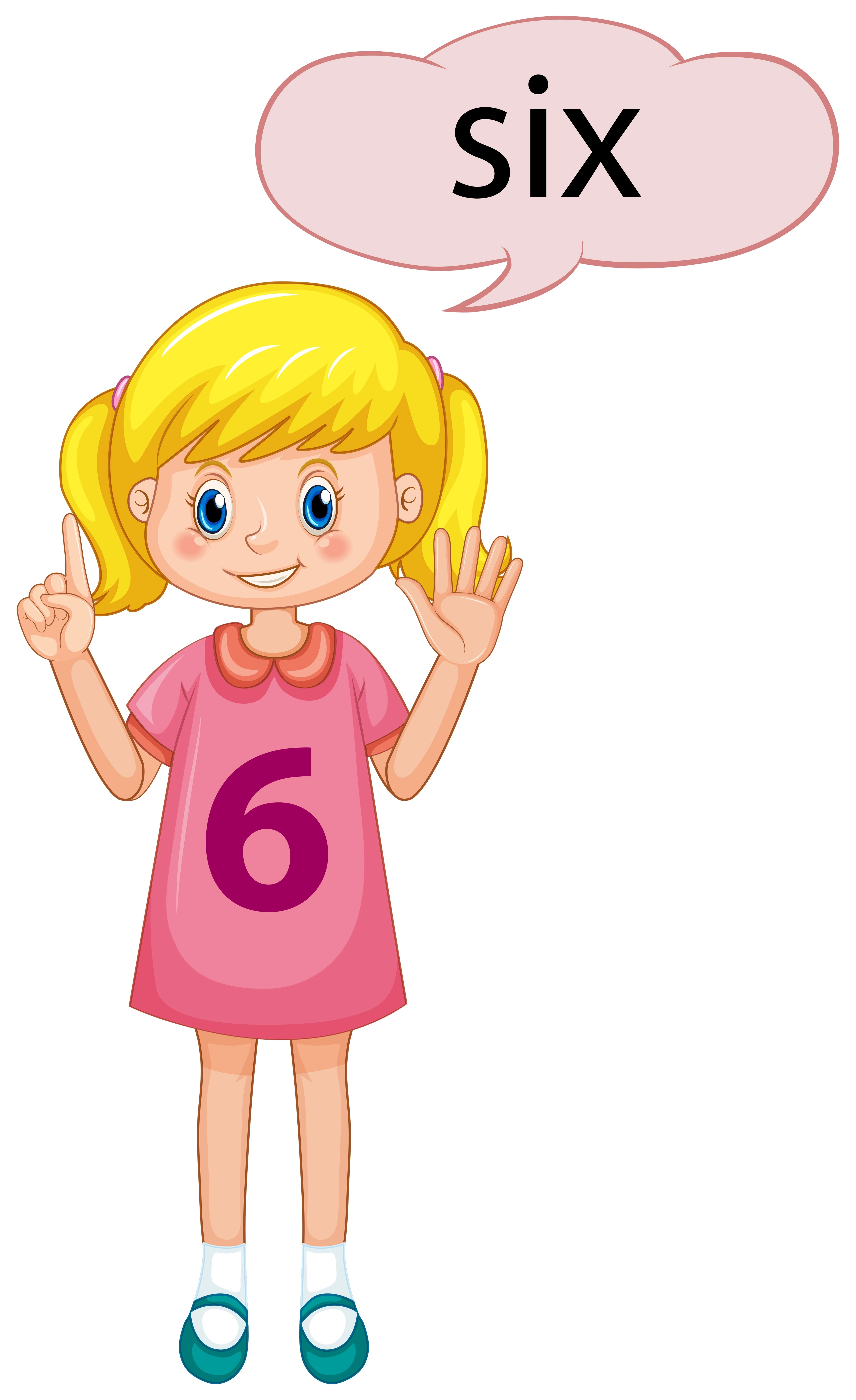 Girl With Number Six Hand Gesture Vector