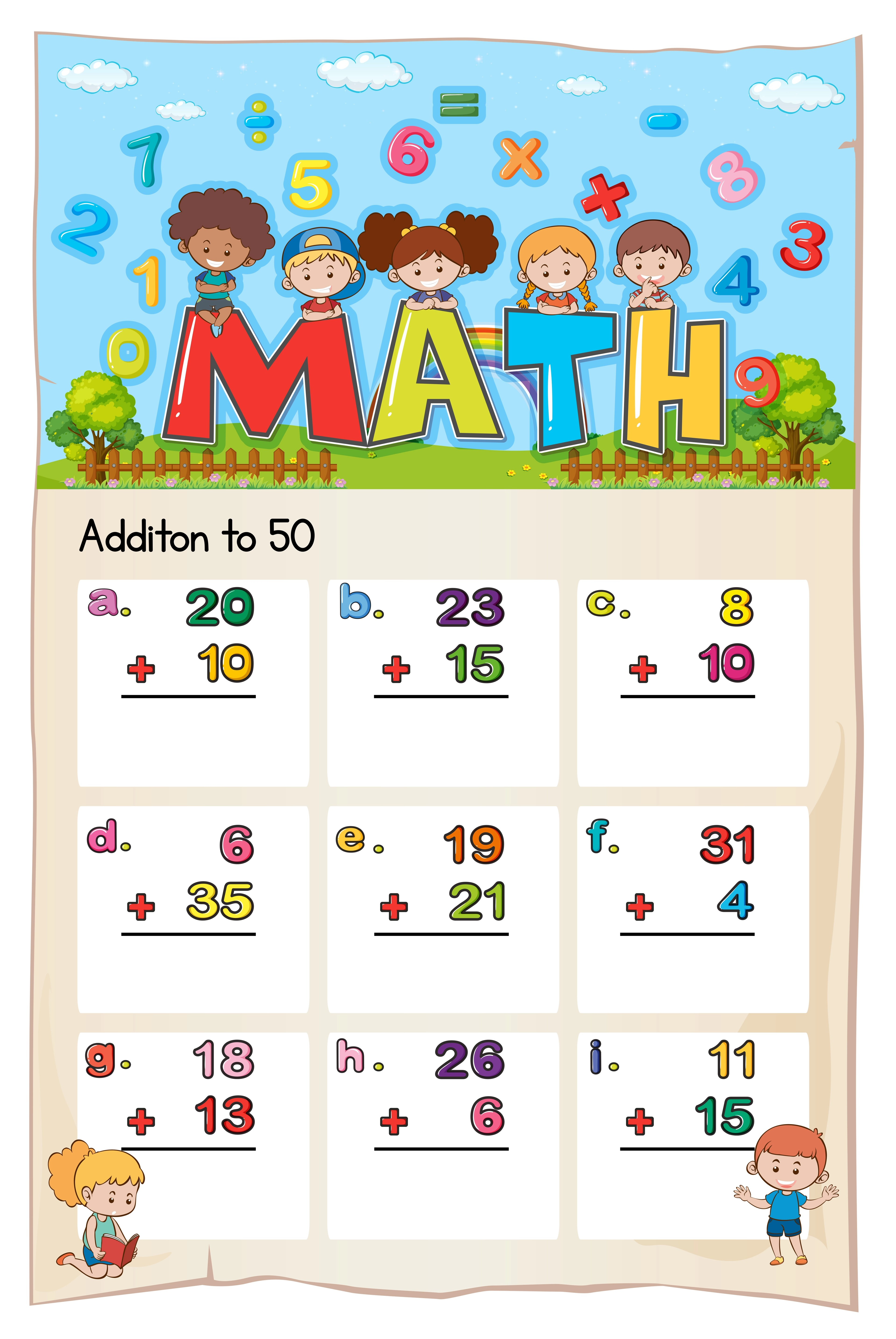 Math Worksheet Template For Addition To Fifty Vector