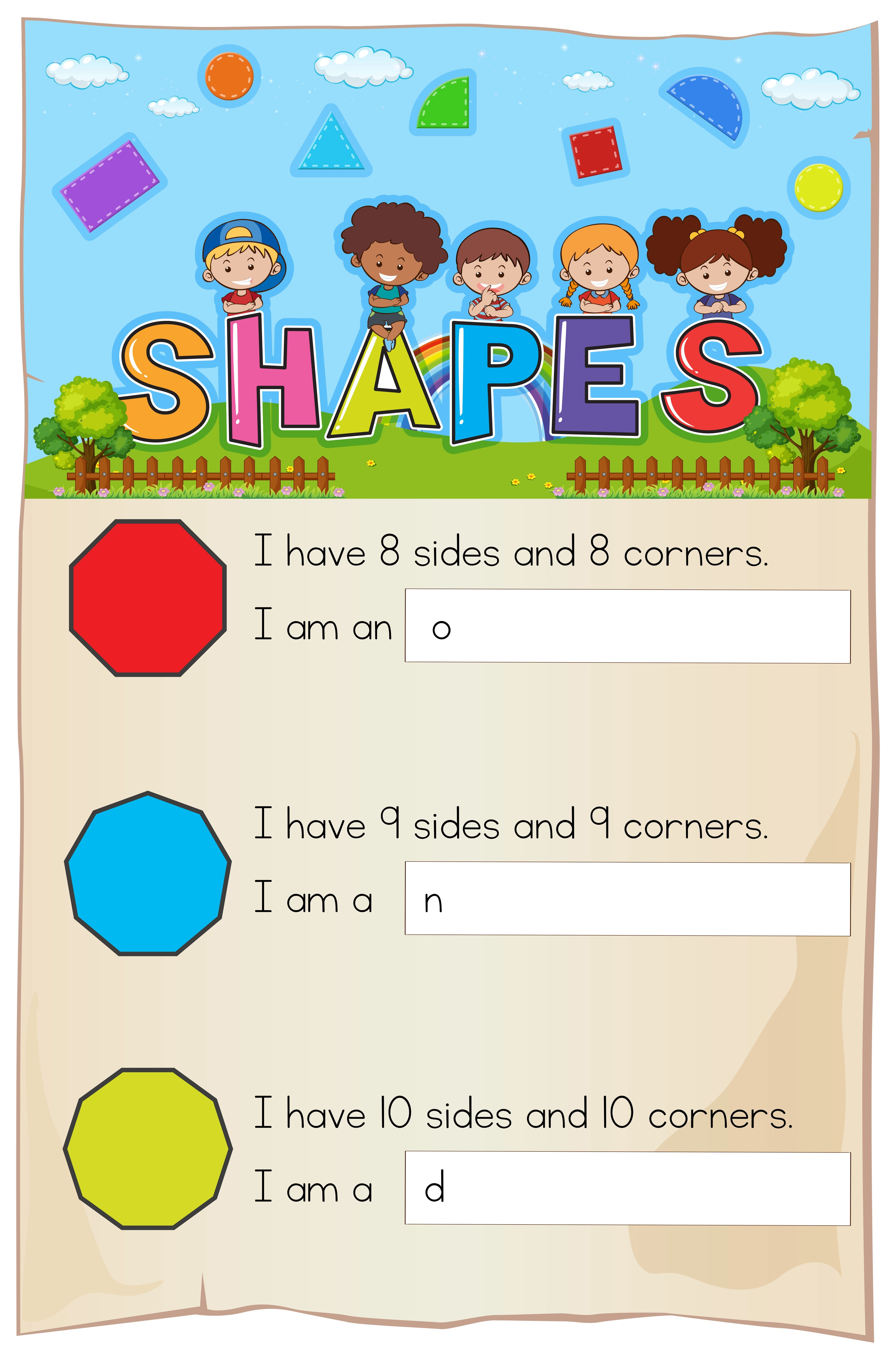 Math Worksheet With Different Shapes