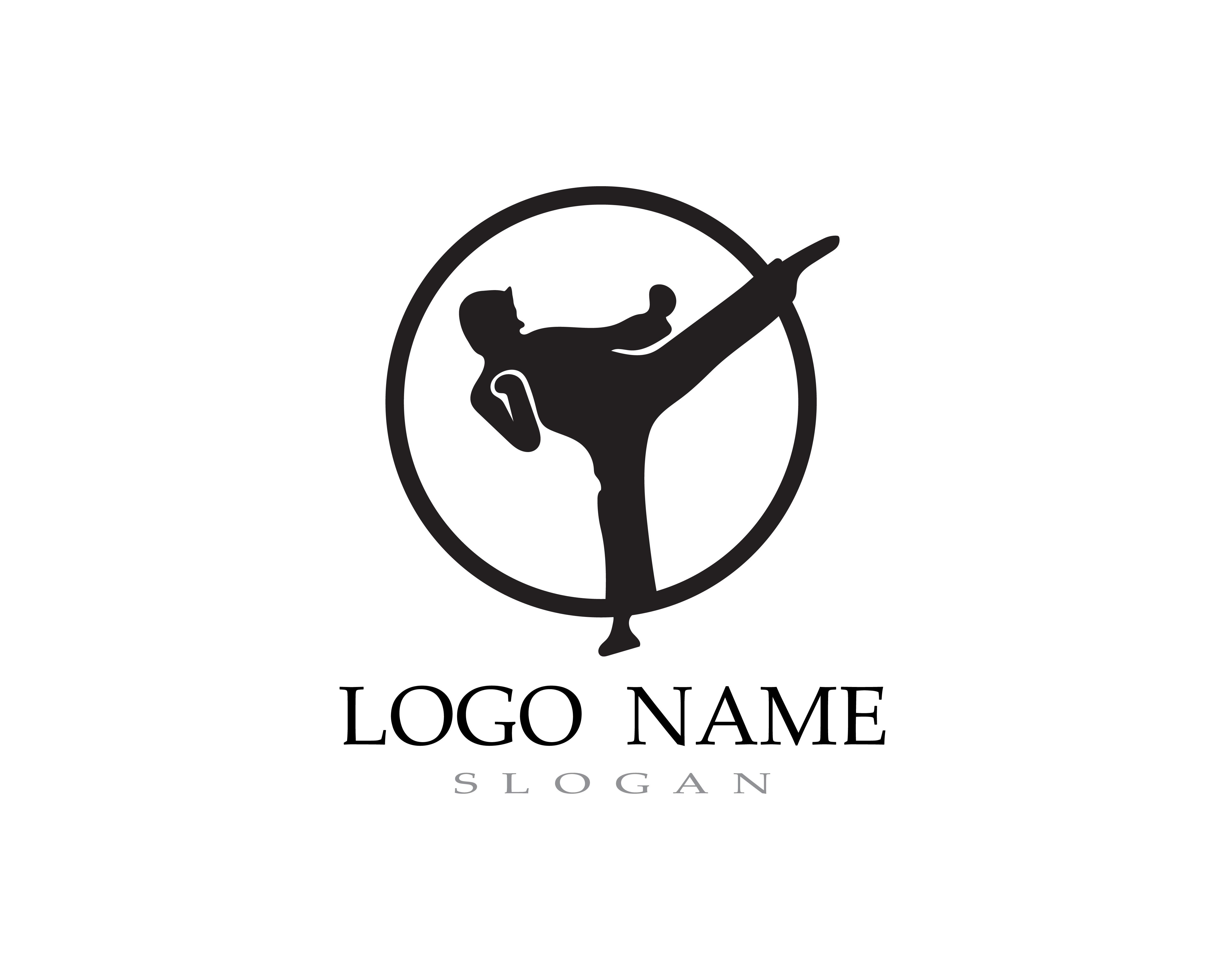 Karate Et Taekwondo Logo Vecteur De Combat