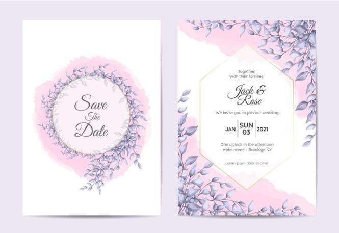 Modern Wedding Invitation Design Of Branches With Blue