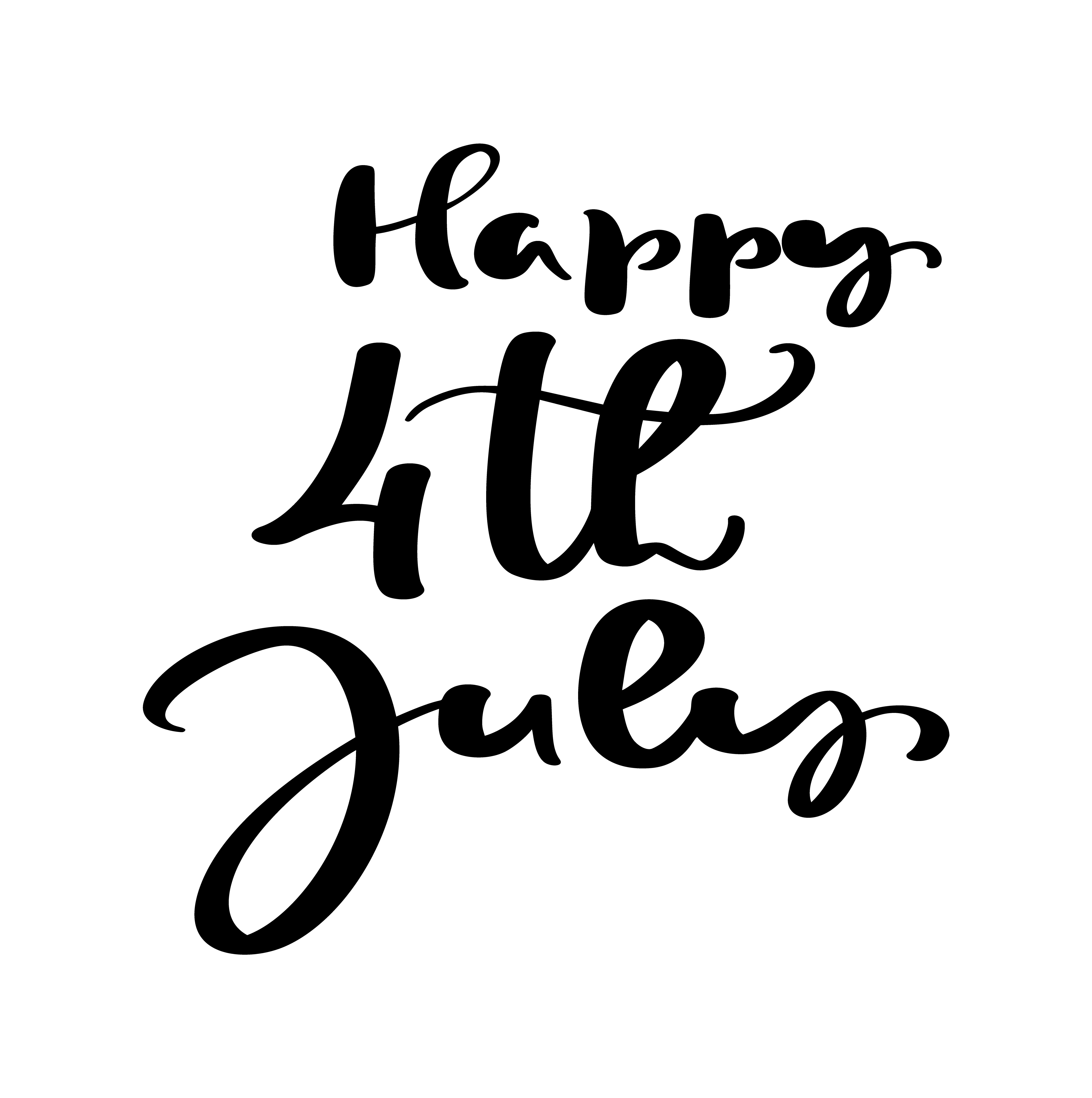 Hand Drawn Vector Lettering Text Happy 4 Th July