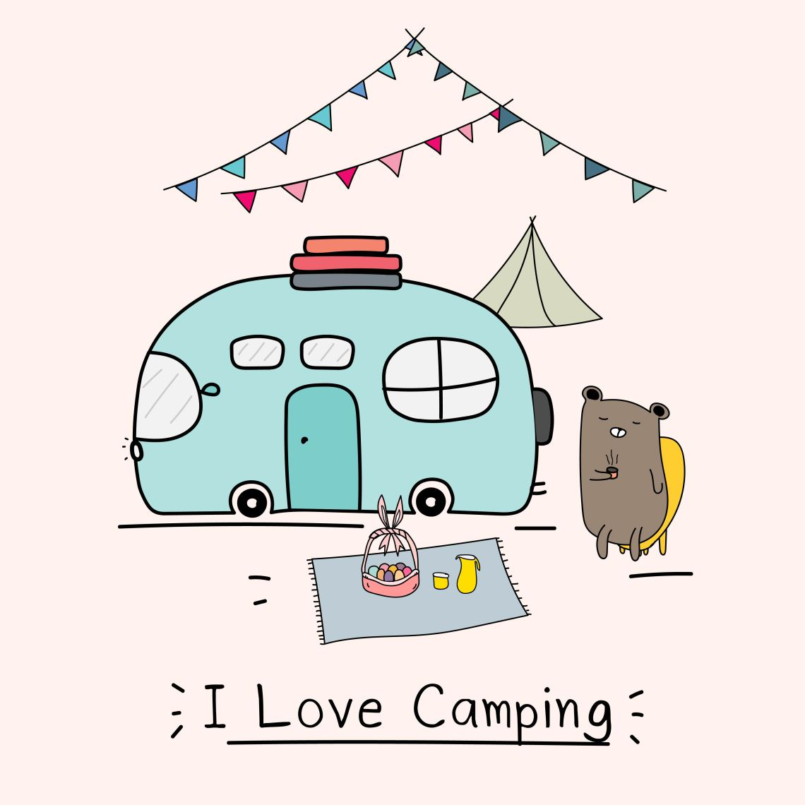 Download I Love Camping Concept With Cute Bear And Camping Car ...