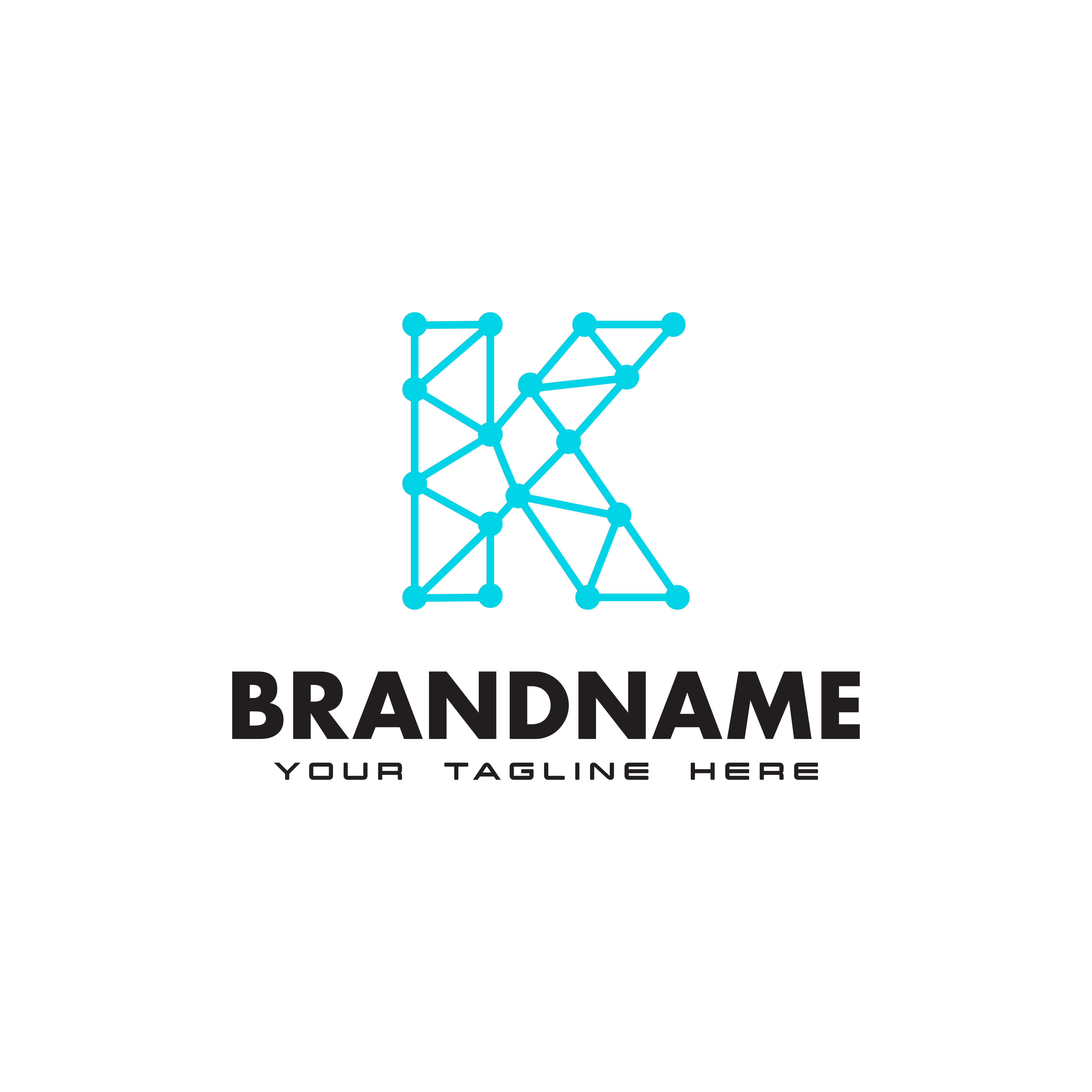 Letter K Dot Network Connection Logo Design Template