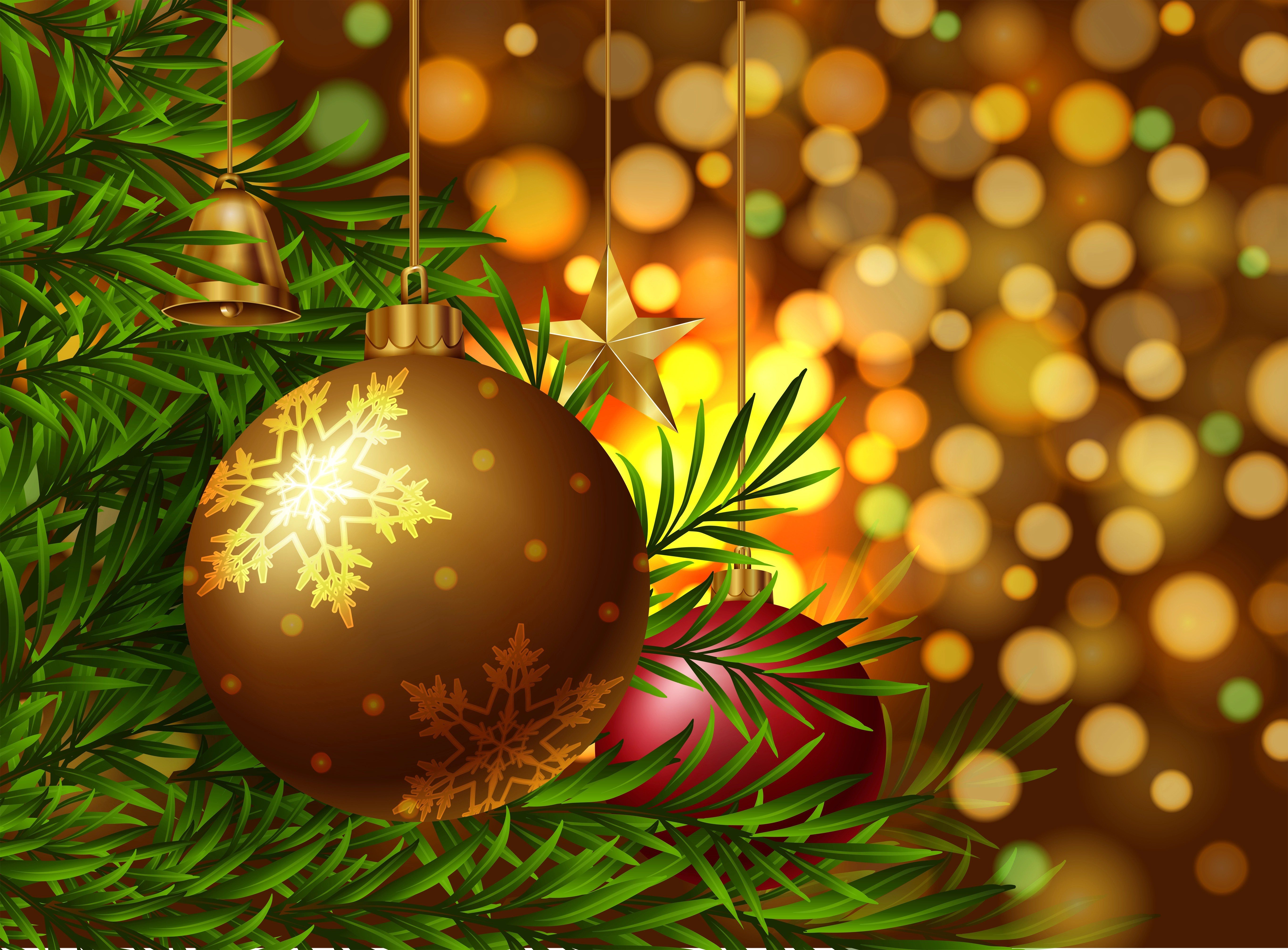 Christmas Theme Background With Ornaments On The Tree