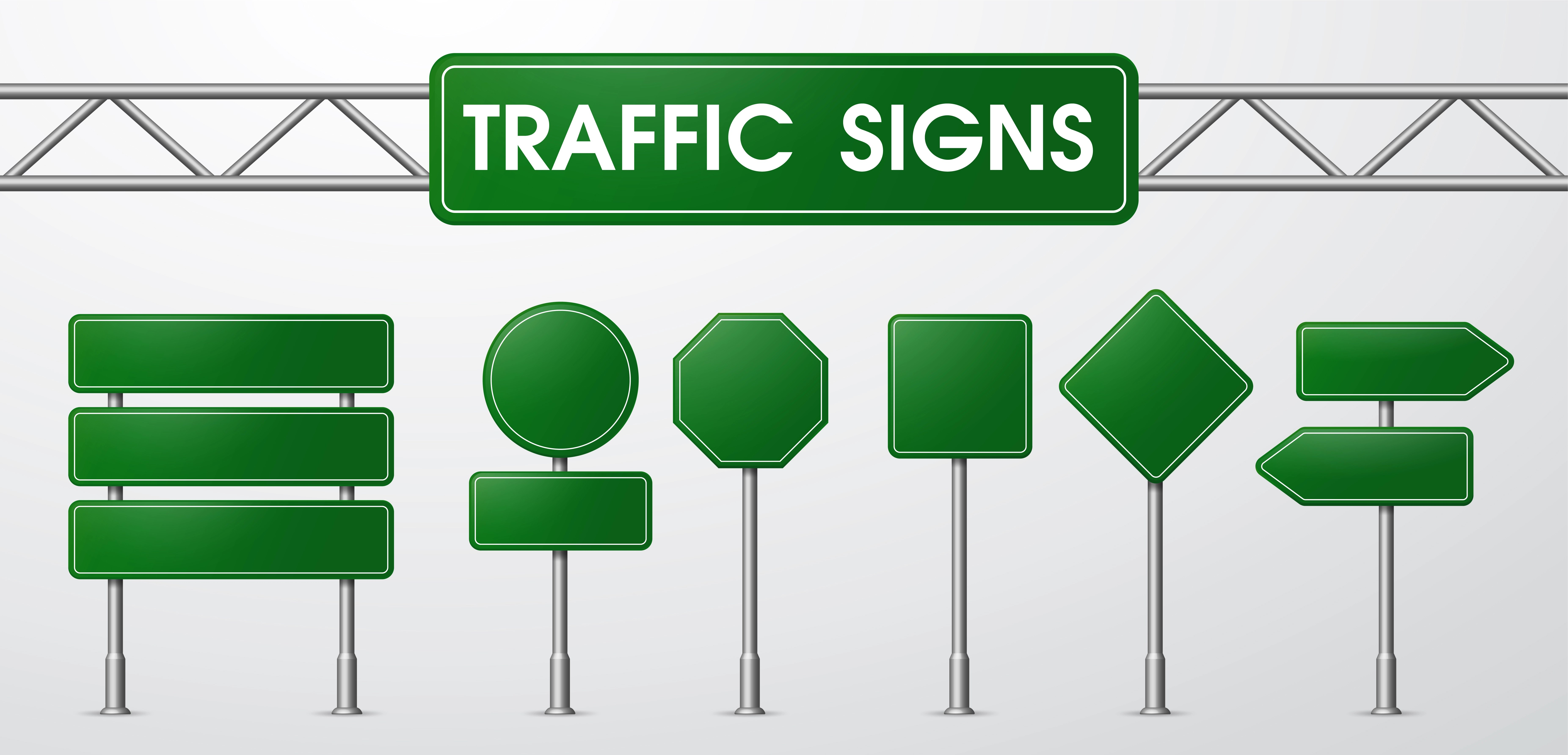 Traffic Signs In Realistic Style Trapped By The Road